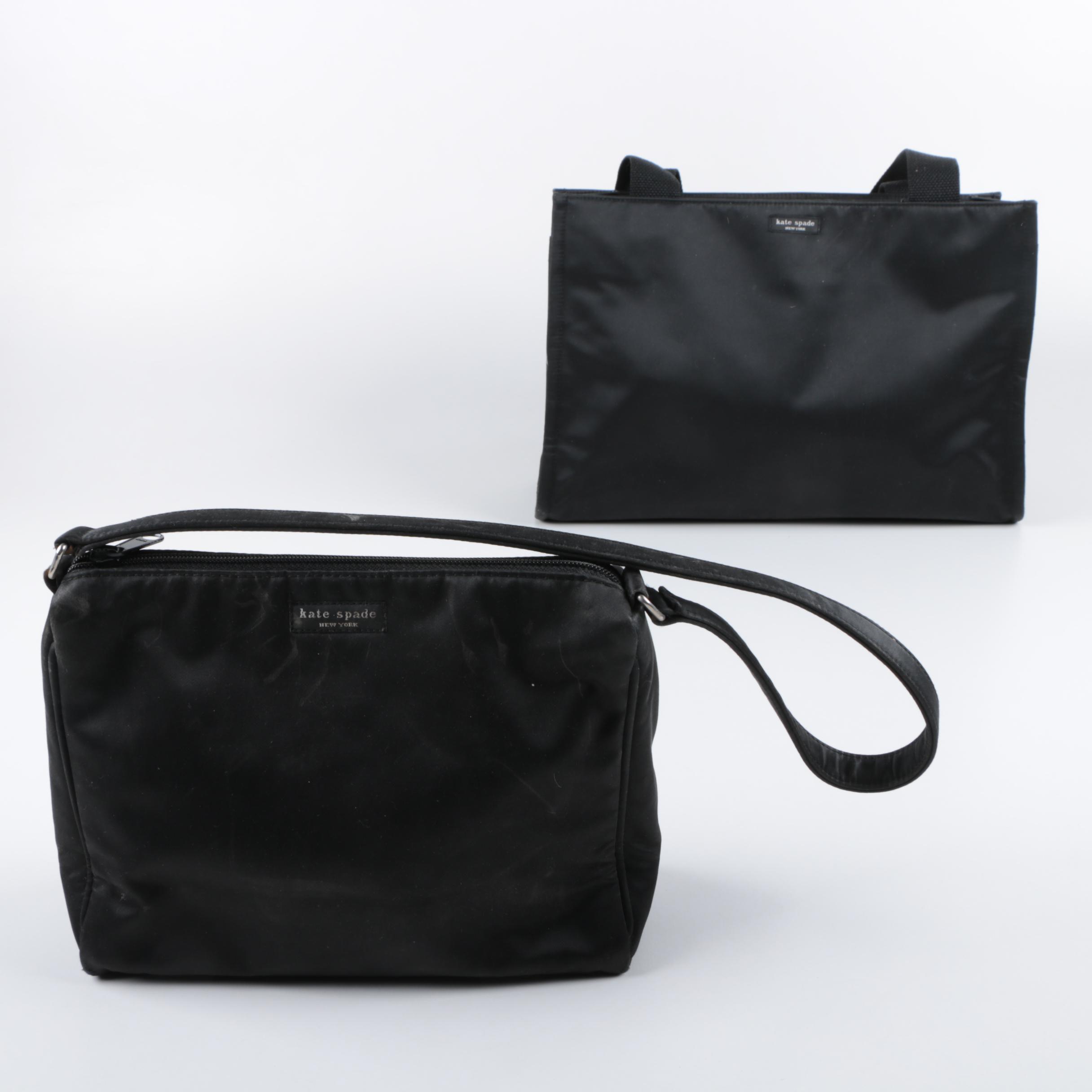 Kate Spade New York Black Fabric Tote and Shoulder Bag