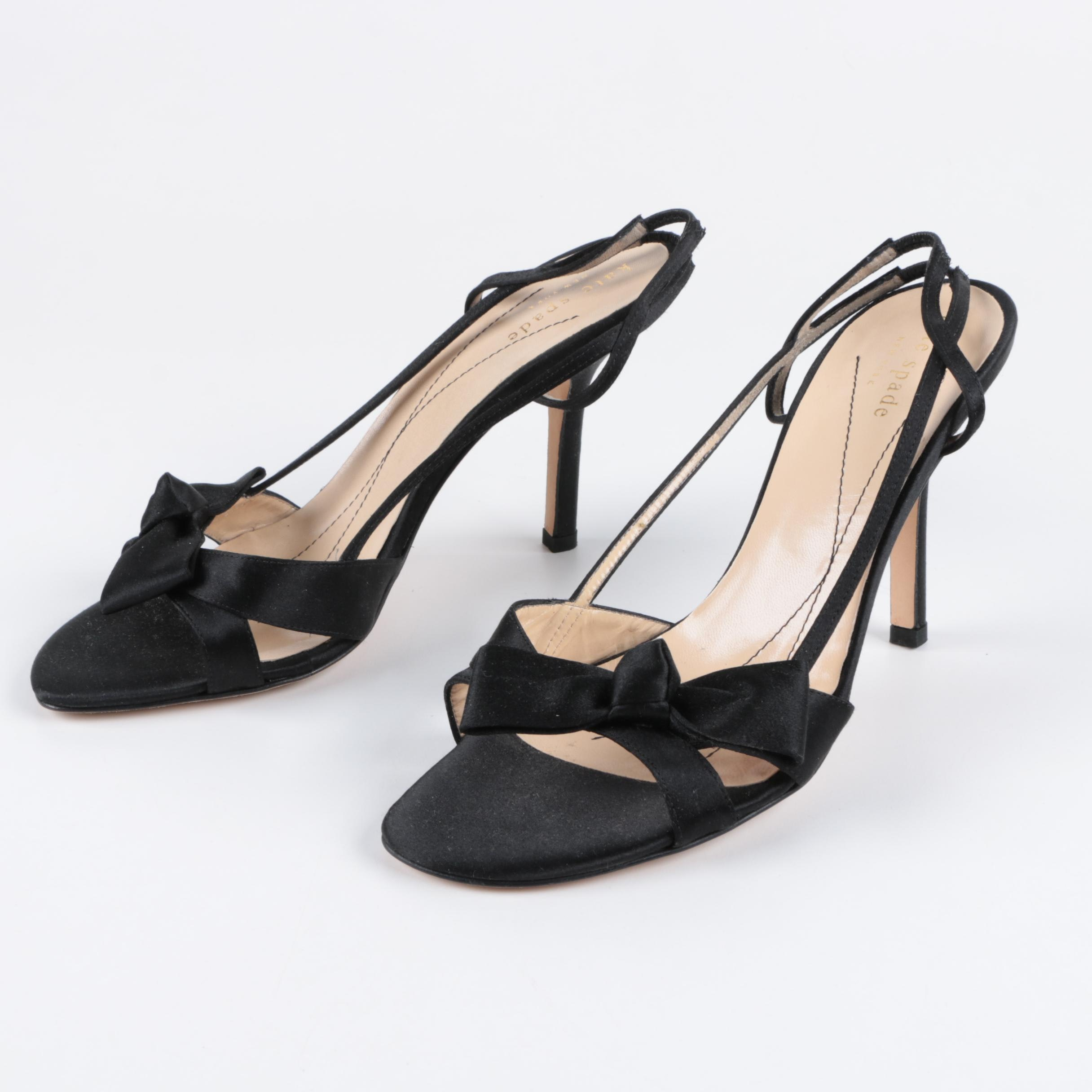 Kate Spade New York Lover Black Satin Sling Back High Heels with Bow