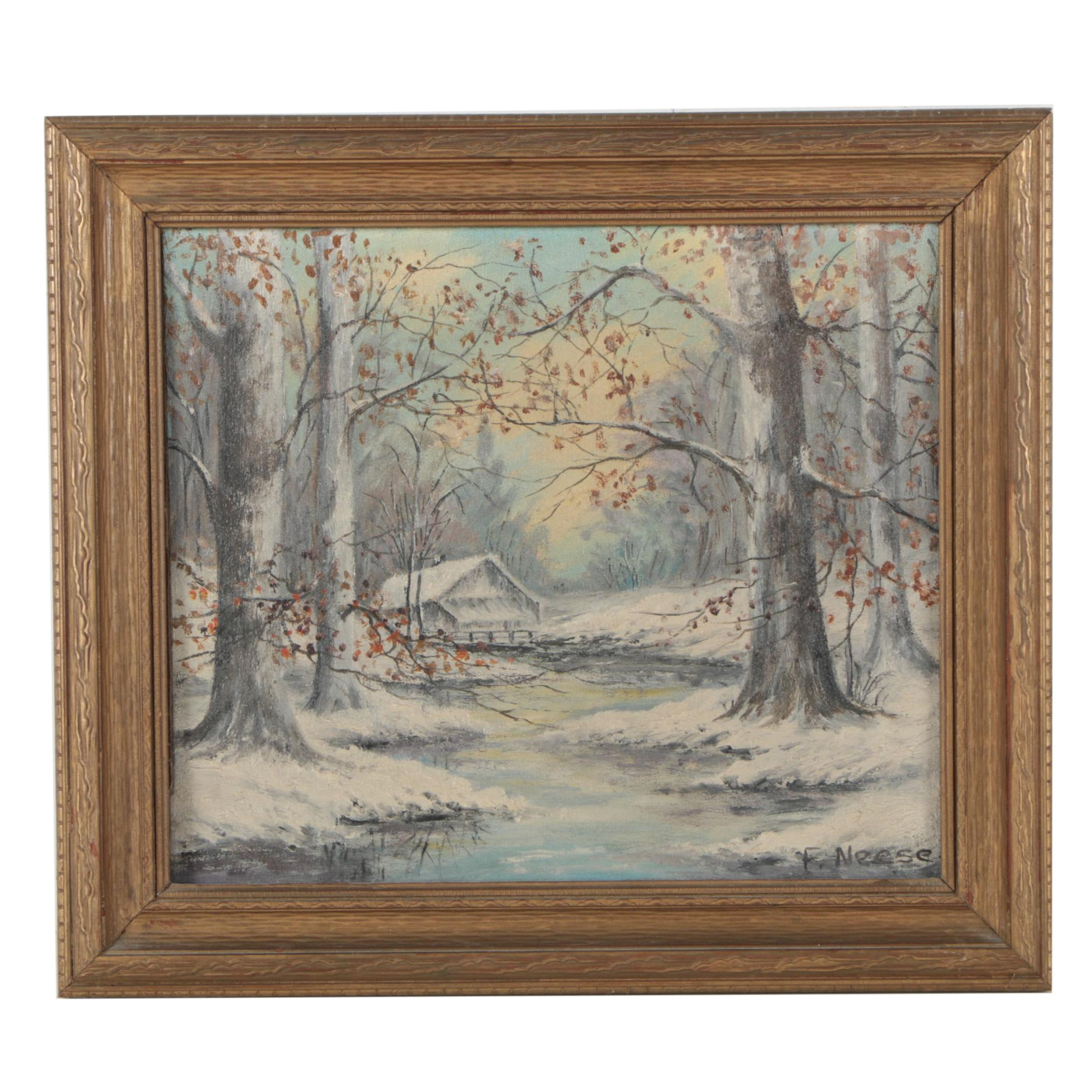 F. Neese Oil Painting of a Winter Forest Scene