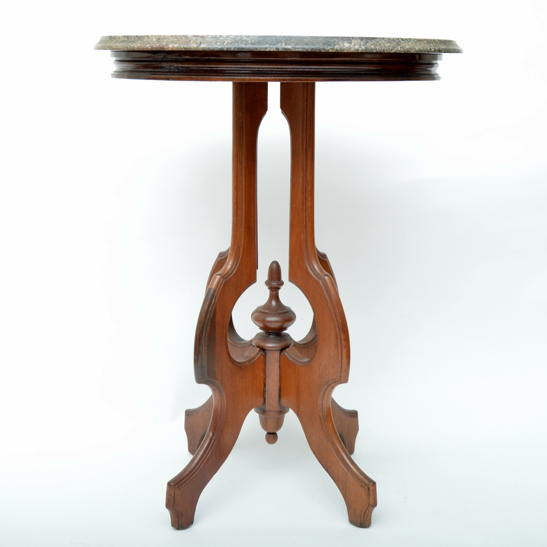 Victorian Romanesque Revival Marble Top Side Table