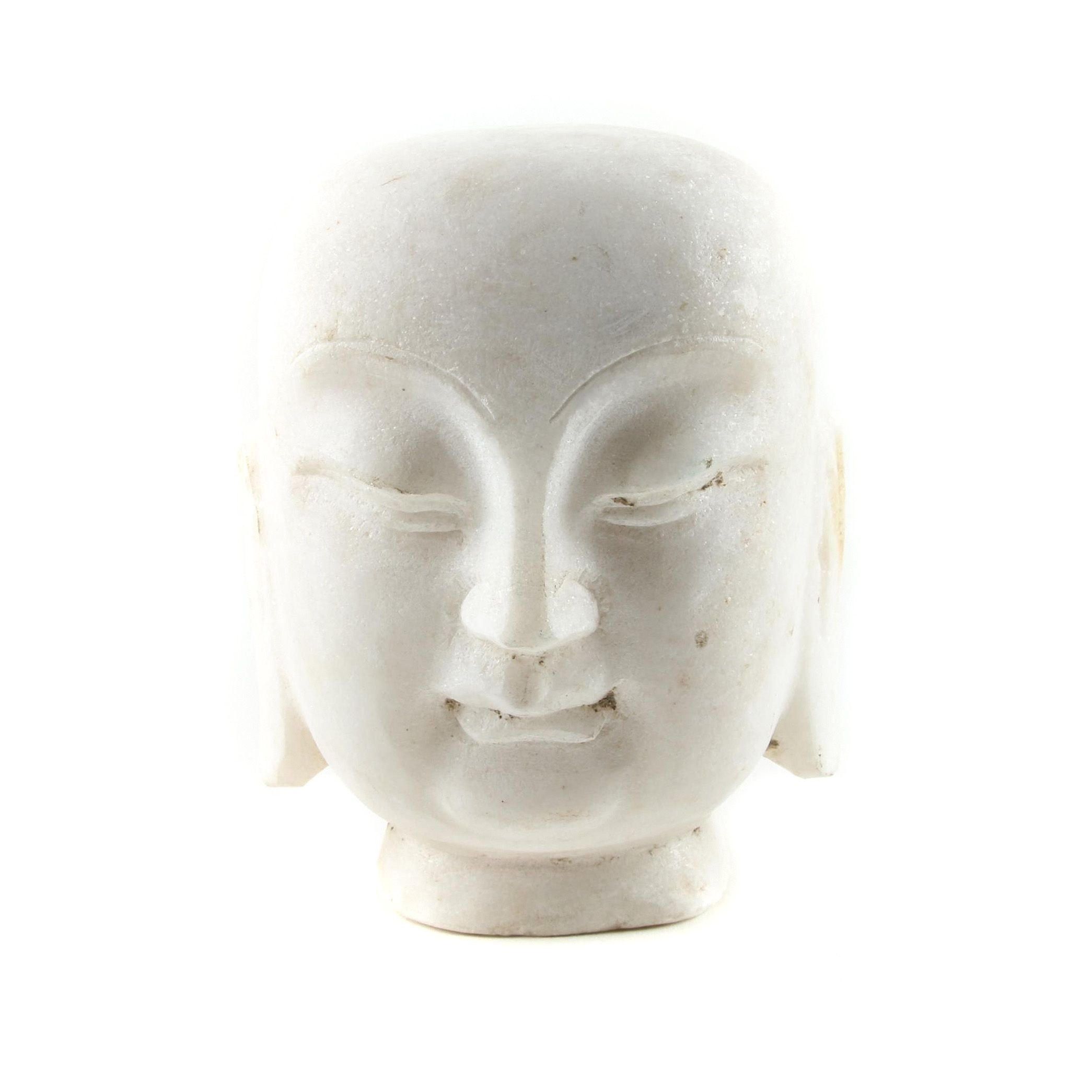 Chinese Inspired Carved Marble Buddha Head Sculpture