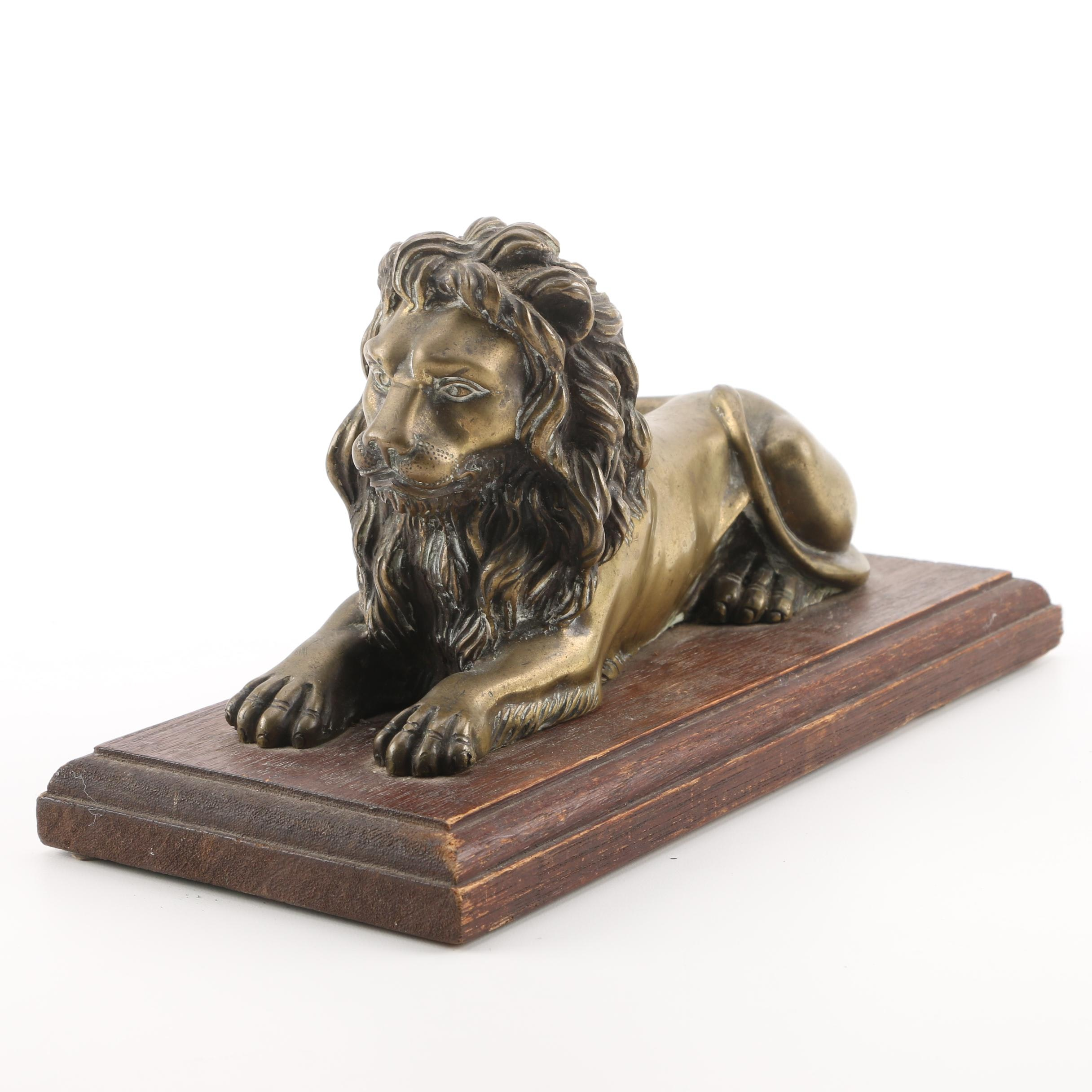 Recumbant Brass Lion Statuette