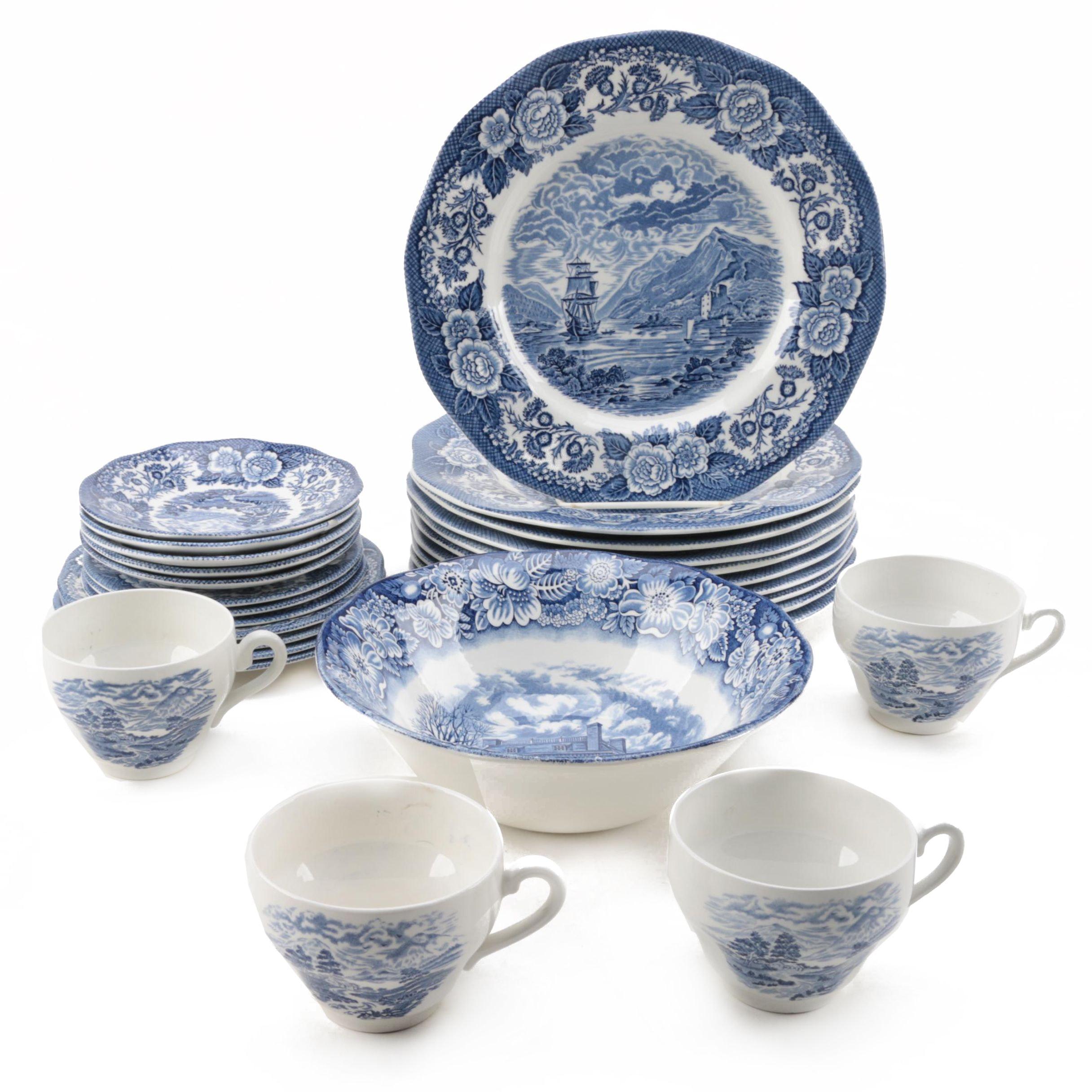 """Royal Warwick """"Lochs of Scotland Blue"""" Tableware"""