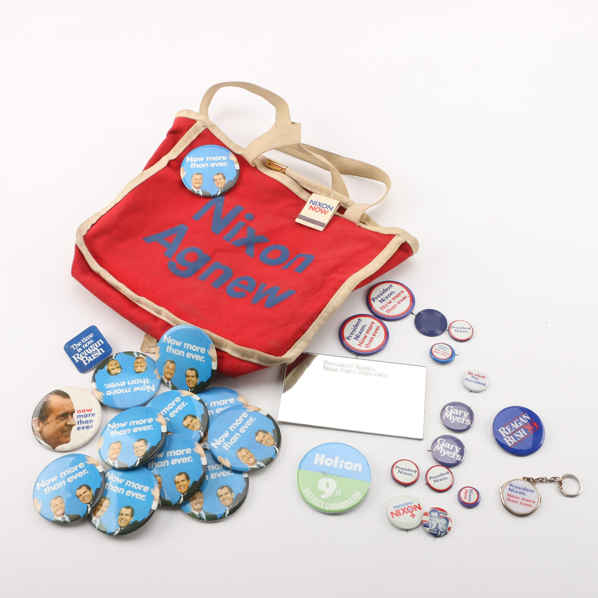 Nixon/Agnew Canvas Bag with Selection of Presidential Campaign Pins and Mirror