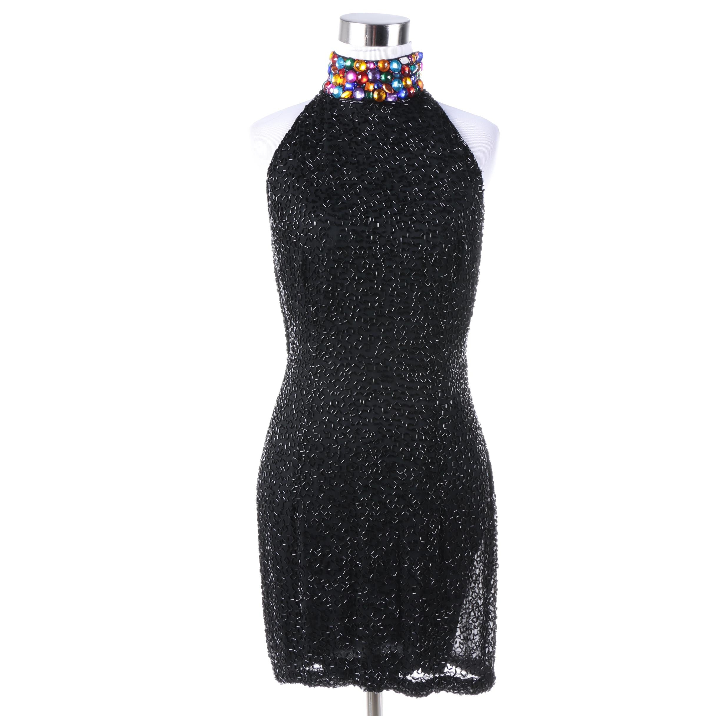 Black Tie by Oleg Cassini Silk Beaded Mini Dress