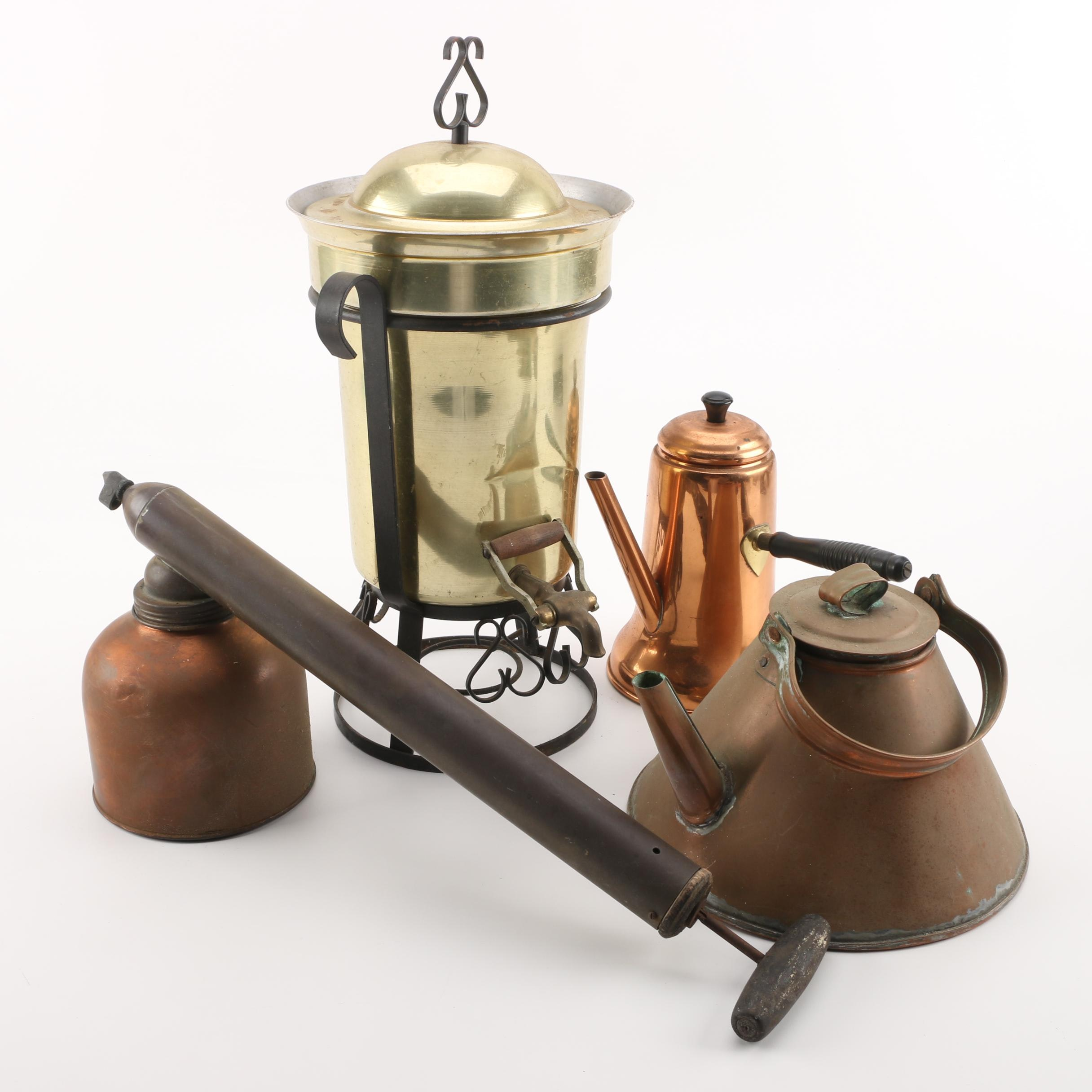 "Beverage Urn, Copper Kettles, and ""Blizzard"" Continuous Sprayer"