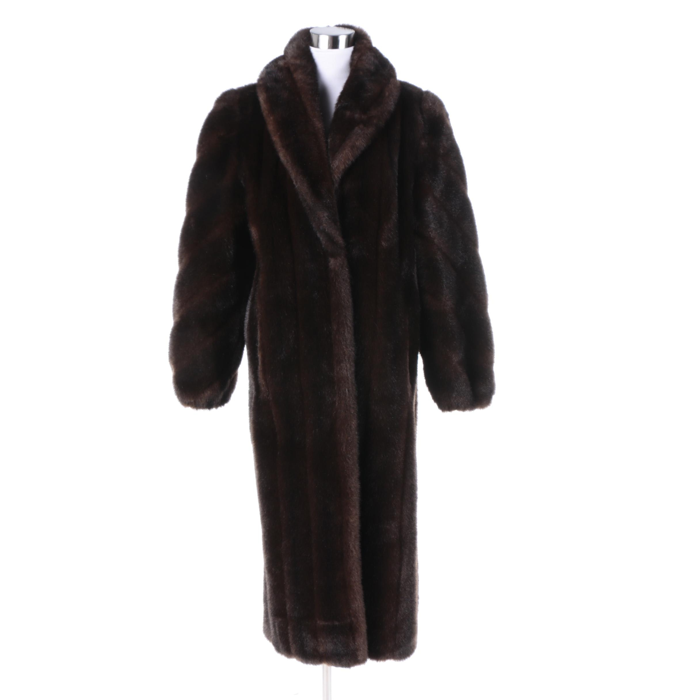 Women's Vintage Giorgio Parnucci Brown Faux Fur Coat