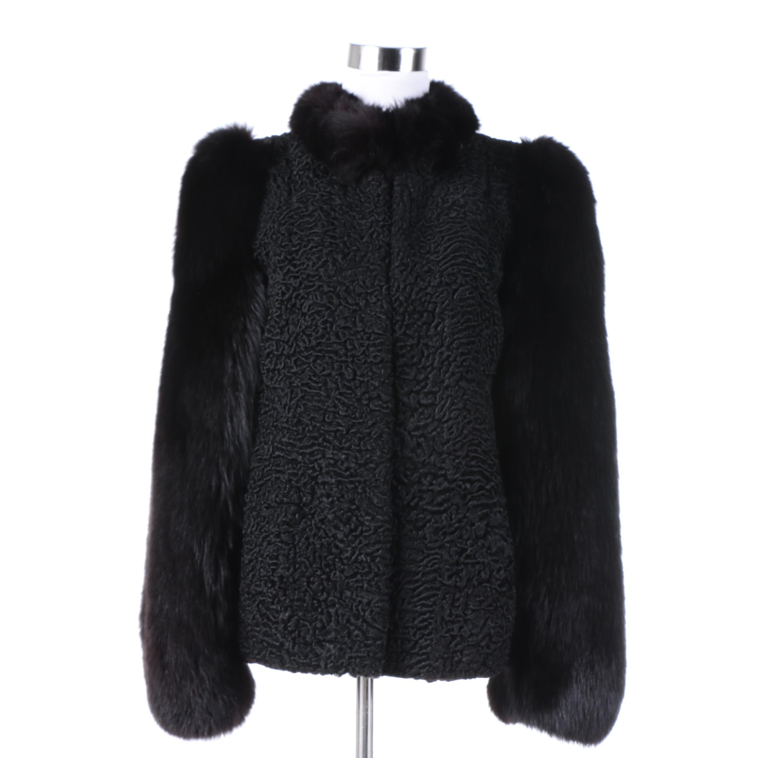 Yudofsky Persian Lamb Coat with Fox Fur Collar and Sleeves