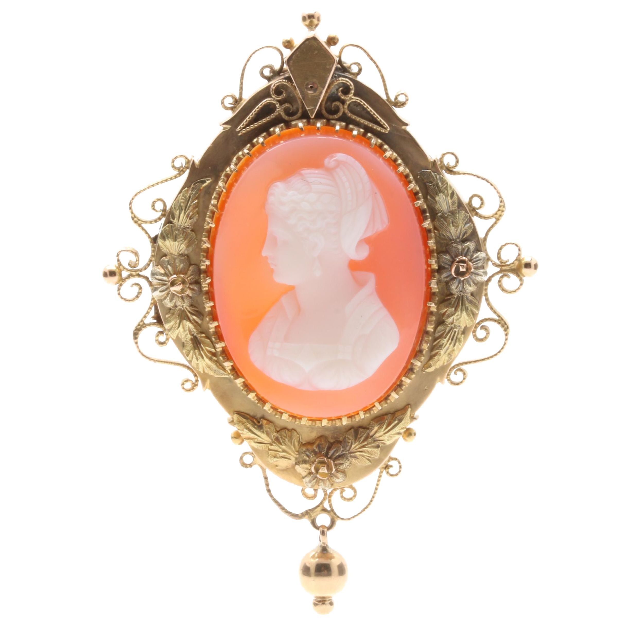 Victorian 14K Yellow and Rose Gold Agate Carved Cameo Brooch