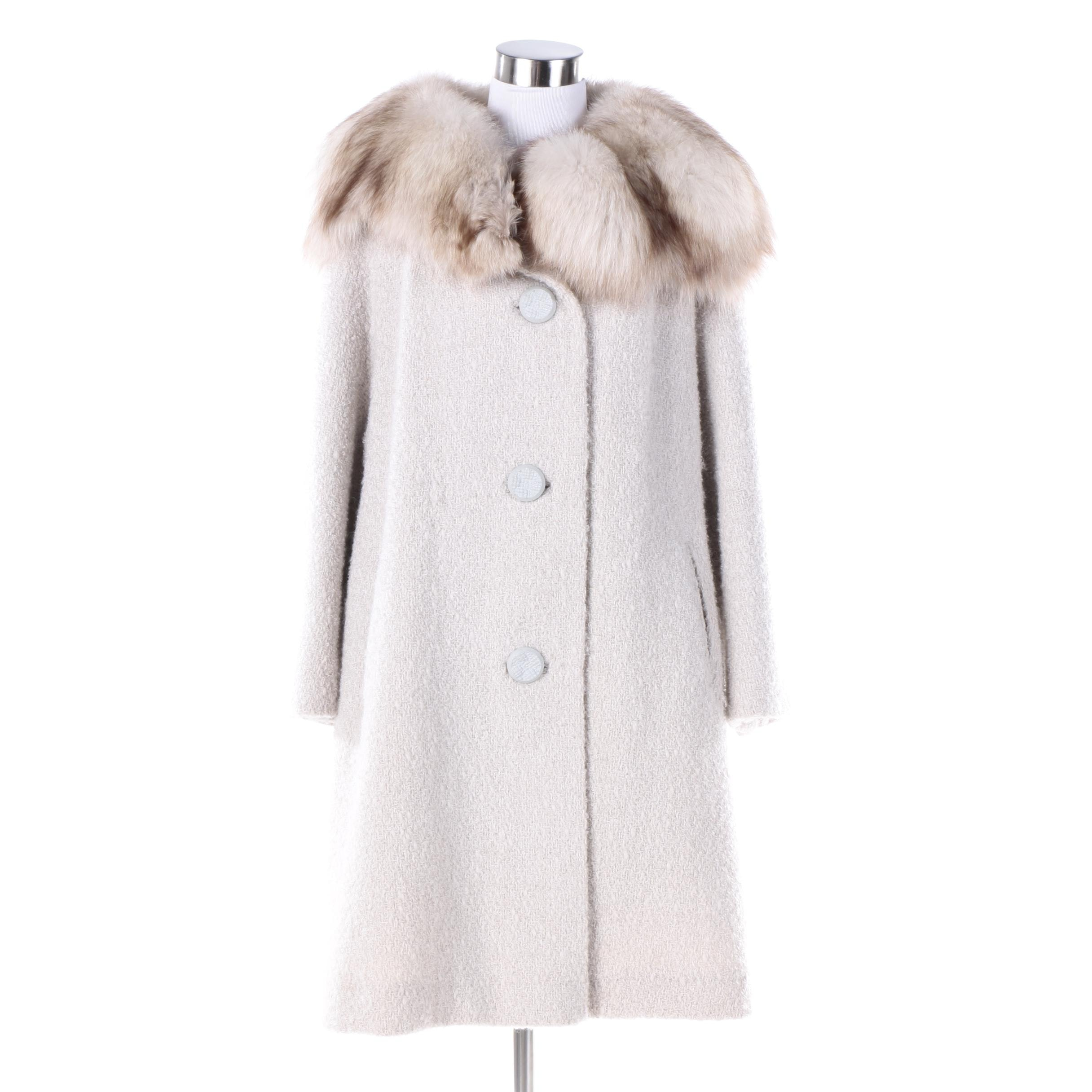Women's Vintage Hockanum Fabric Serena Wool Coat with Fox Fur Collar