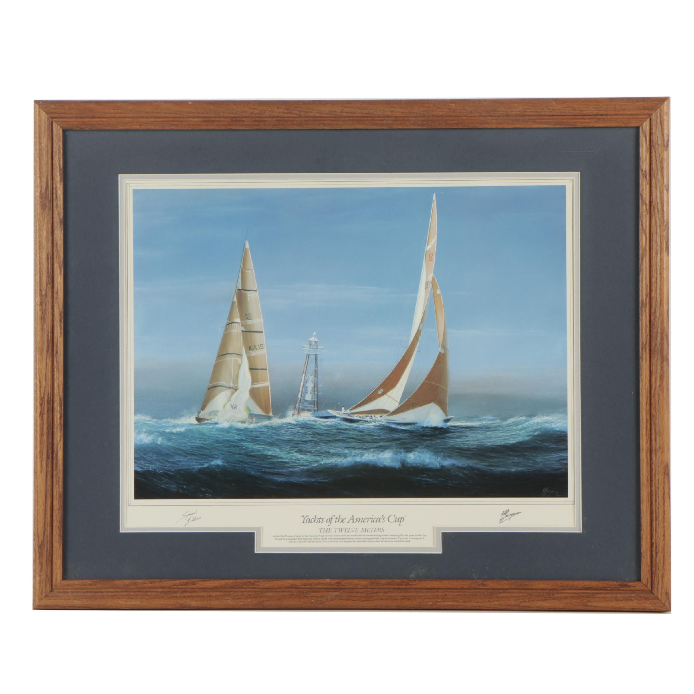 "Offset Lithograph After Tim Thompson ""Yachts of The America's Cup"""