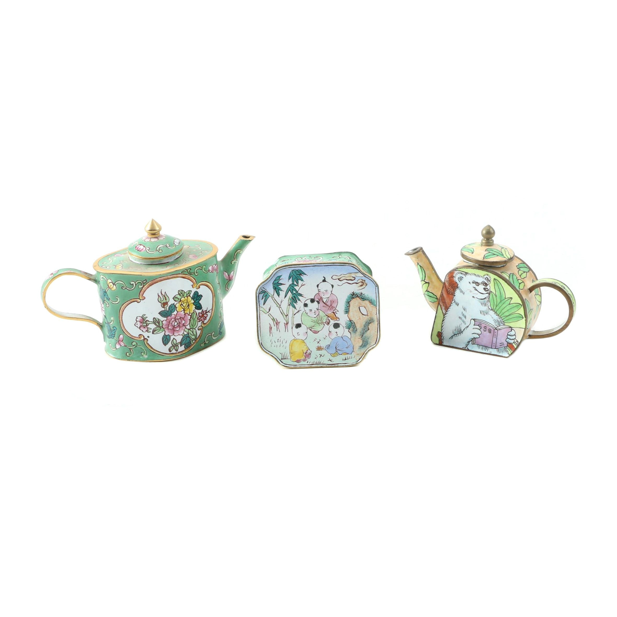Miniature Chinese Enamel Teapots and Trinket Box