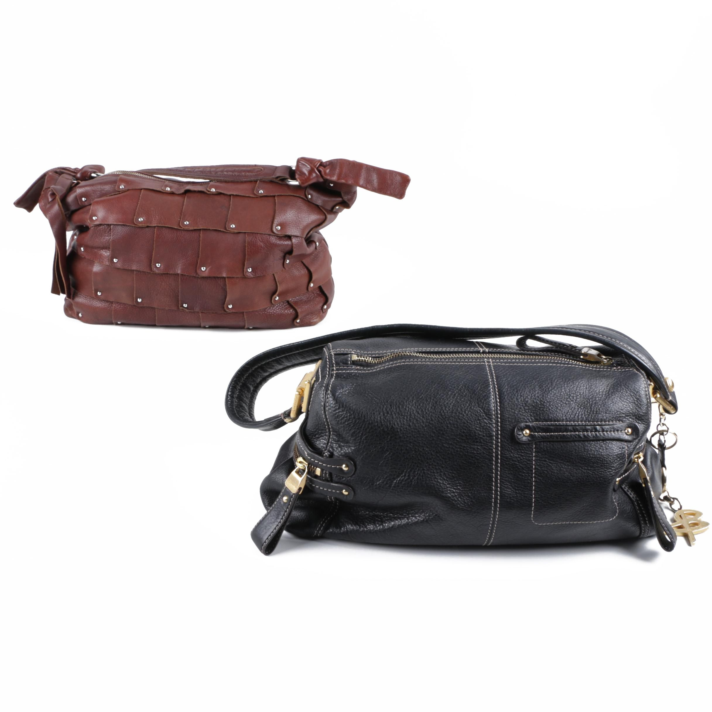 B. Makowsky Black and Brown Leather Handbags