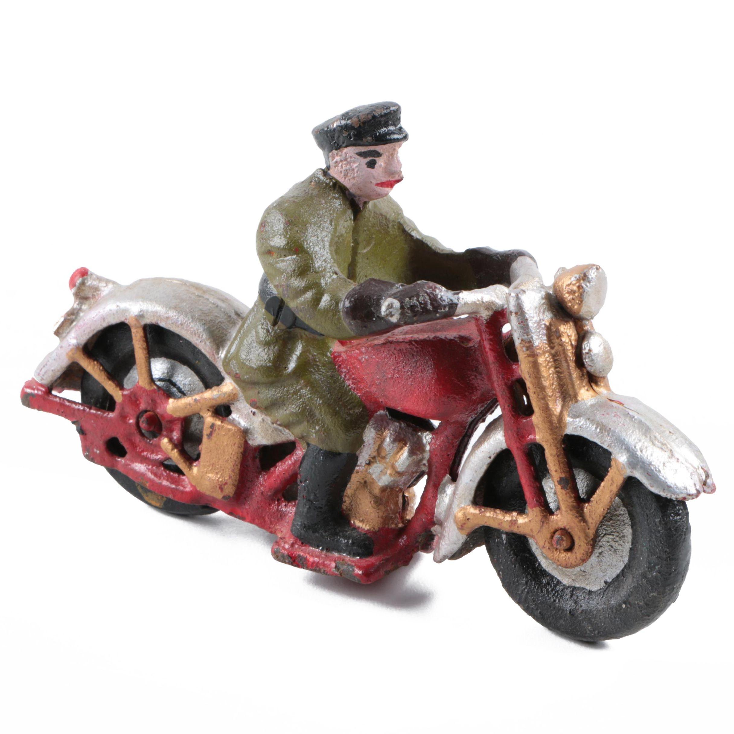 Cast Iron Motorcyclist Figurine