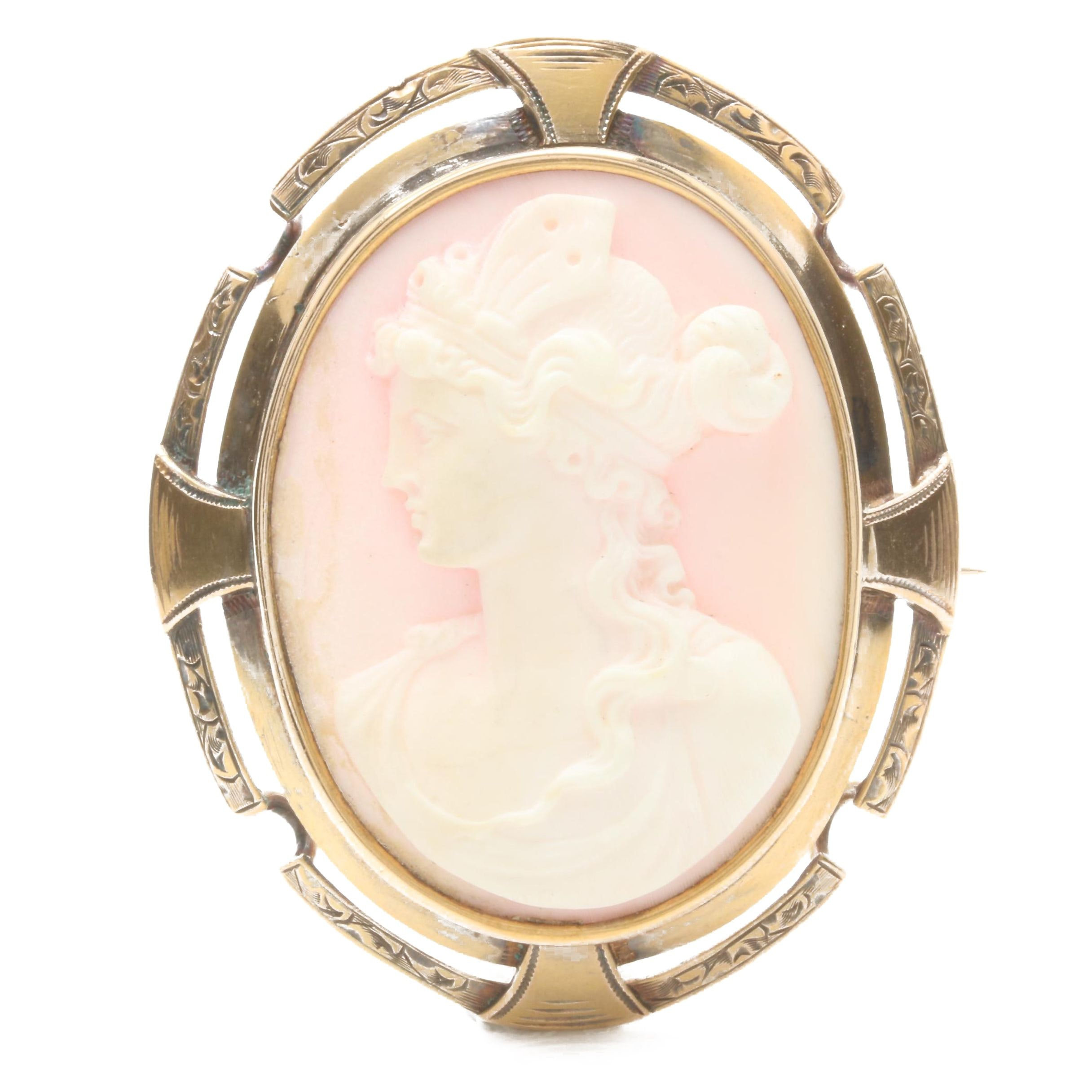 14K Yellow Gold Conch Shell Carved Cameo Combination Brooch and Pendant