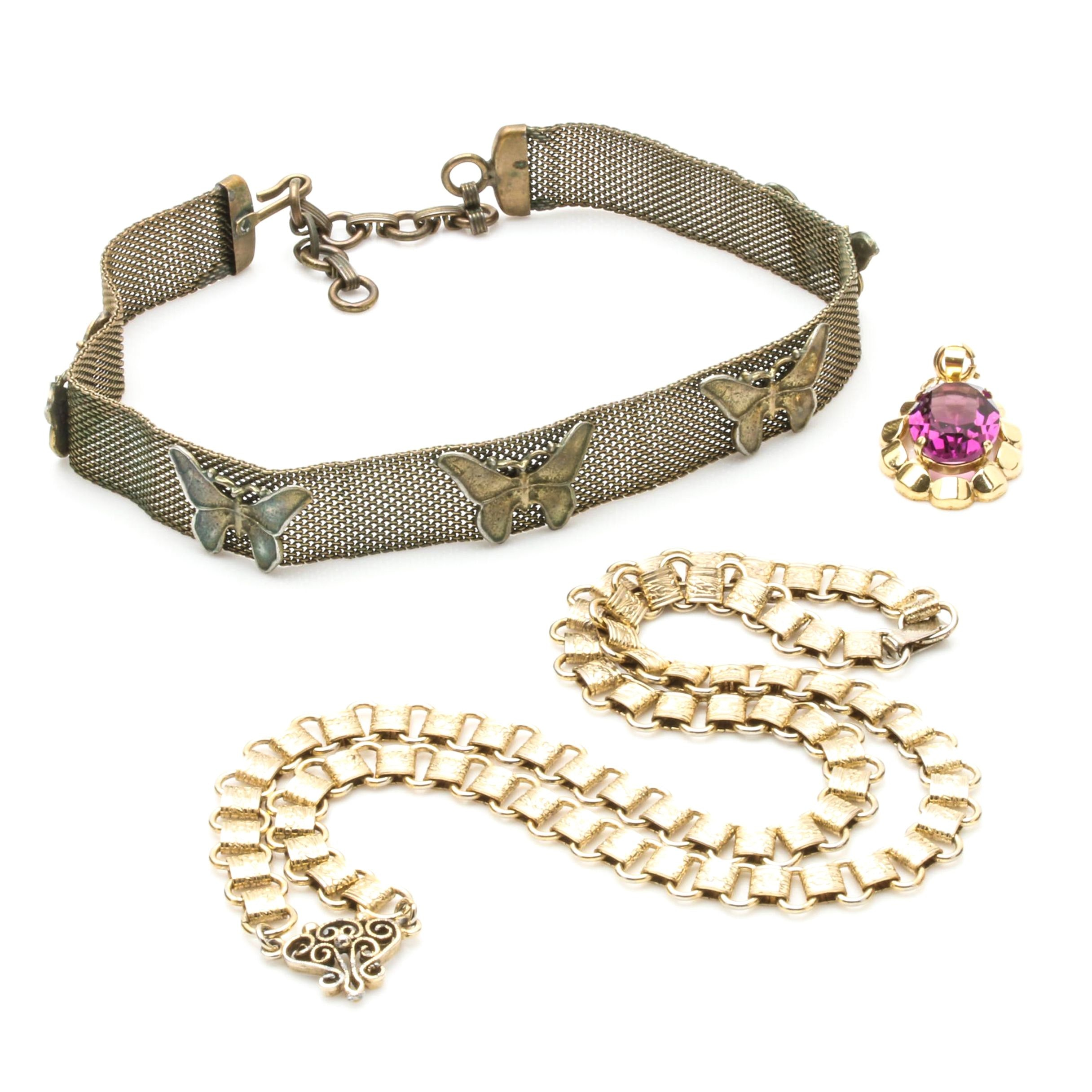 Gold Toned Jewelry Selection Including Butterfly Choker