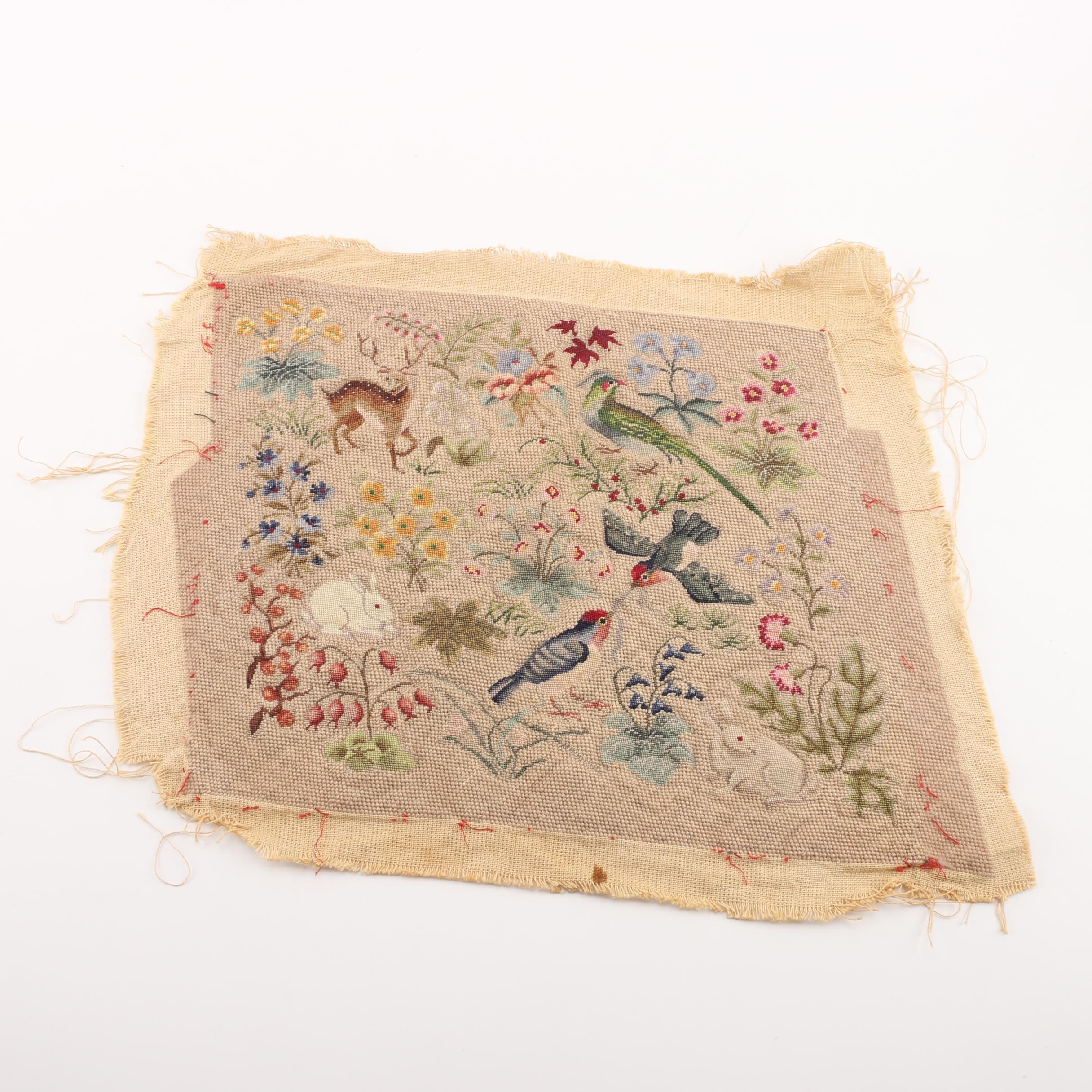 Vintage Needlepoint Woodland Tapestry