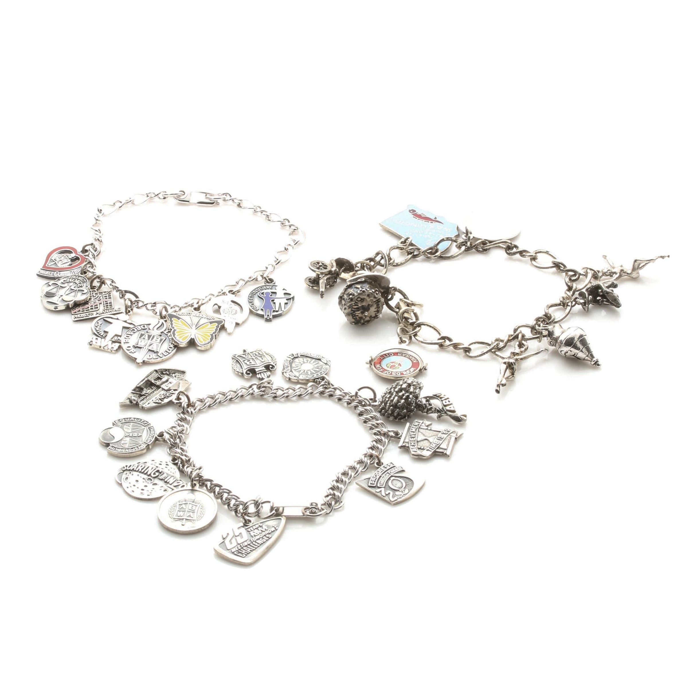 Charm Bracelet Selection Featuring Sterling Silver Charms