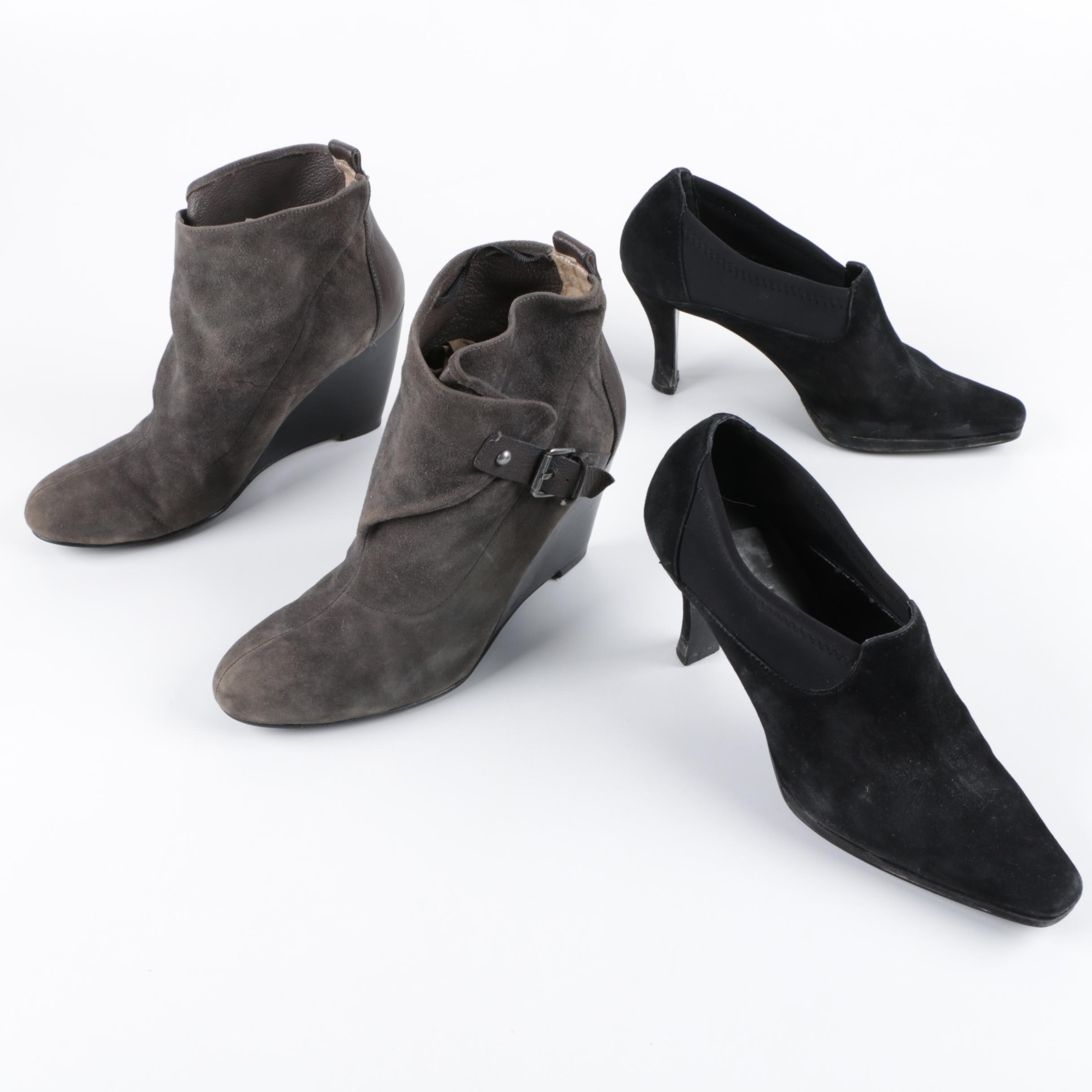 Nine West Grey Suede Booties and Moda Black Suede Heels