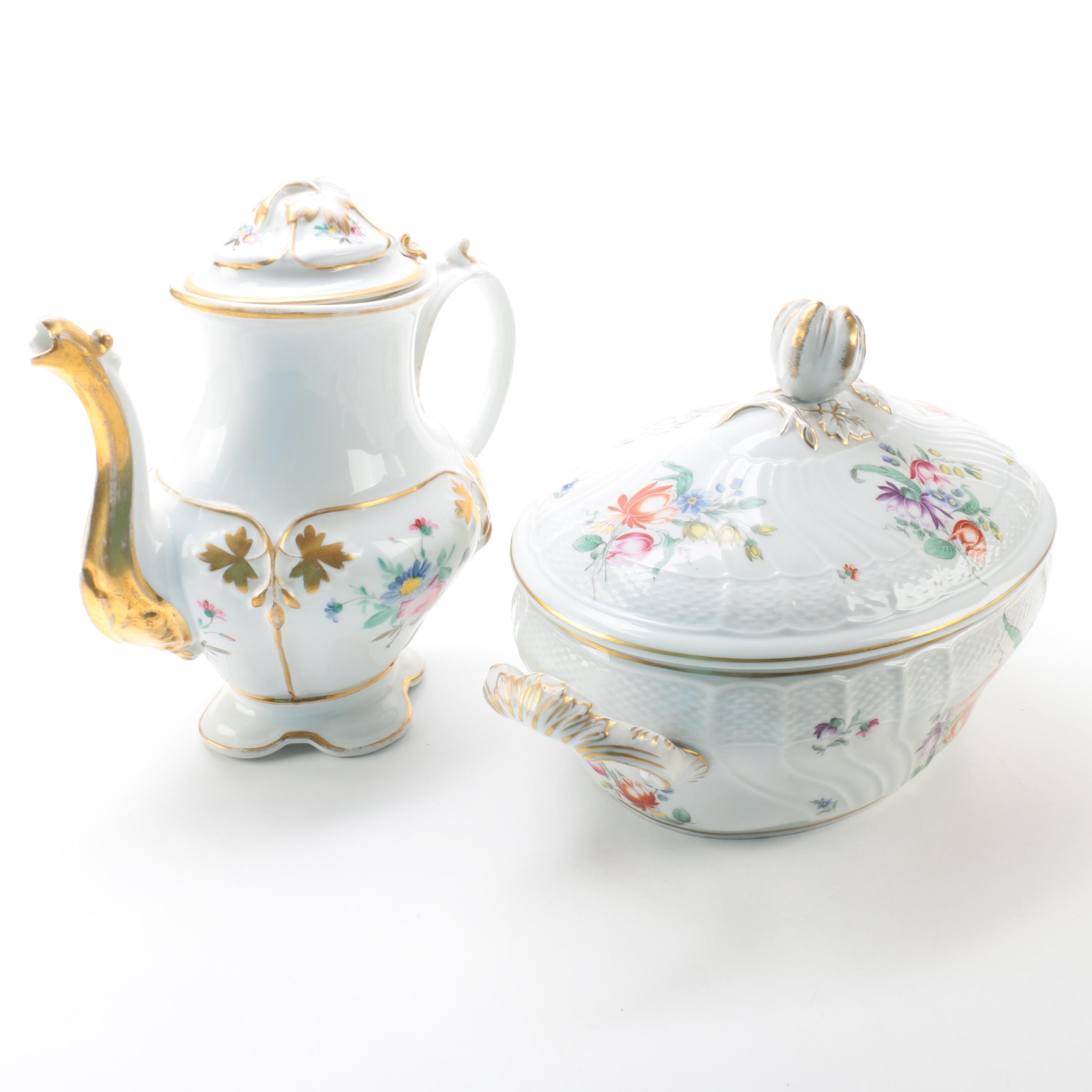 Vintage Floral Porcelain Pitcher and Richard Ginori Soup Tureen