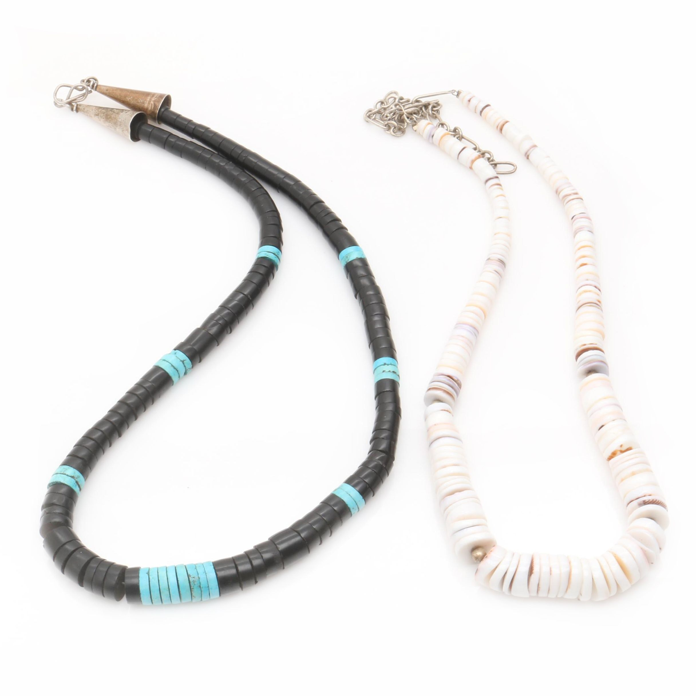 Sterling Silver Shell, Resin and Dyed Magnesite Heishi Bead Necklaces
