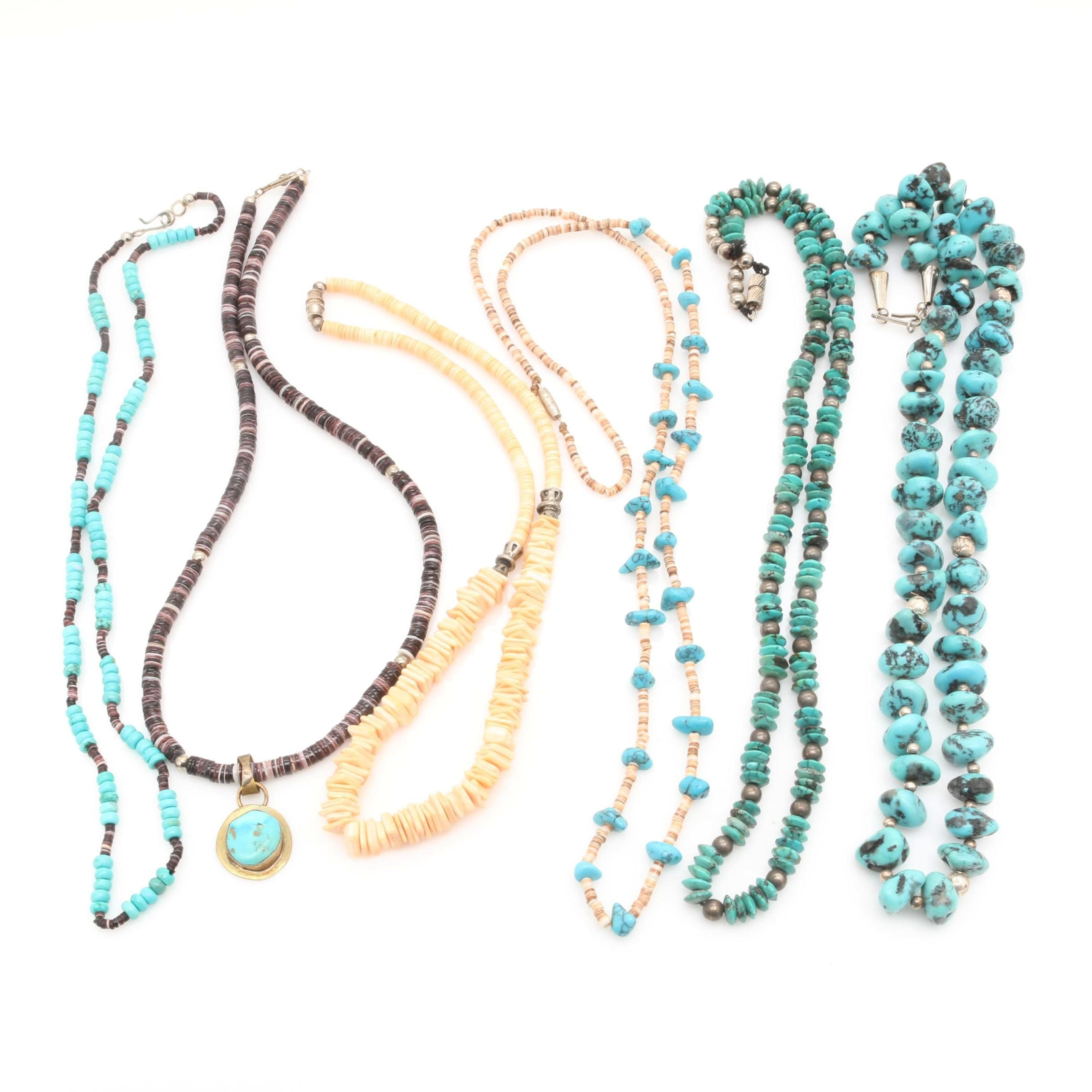 Assortment of Stabilized Turquoise, Shell and Dyed Howlite Necklaces