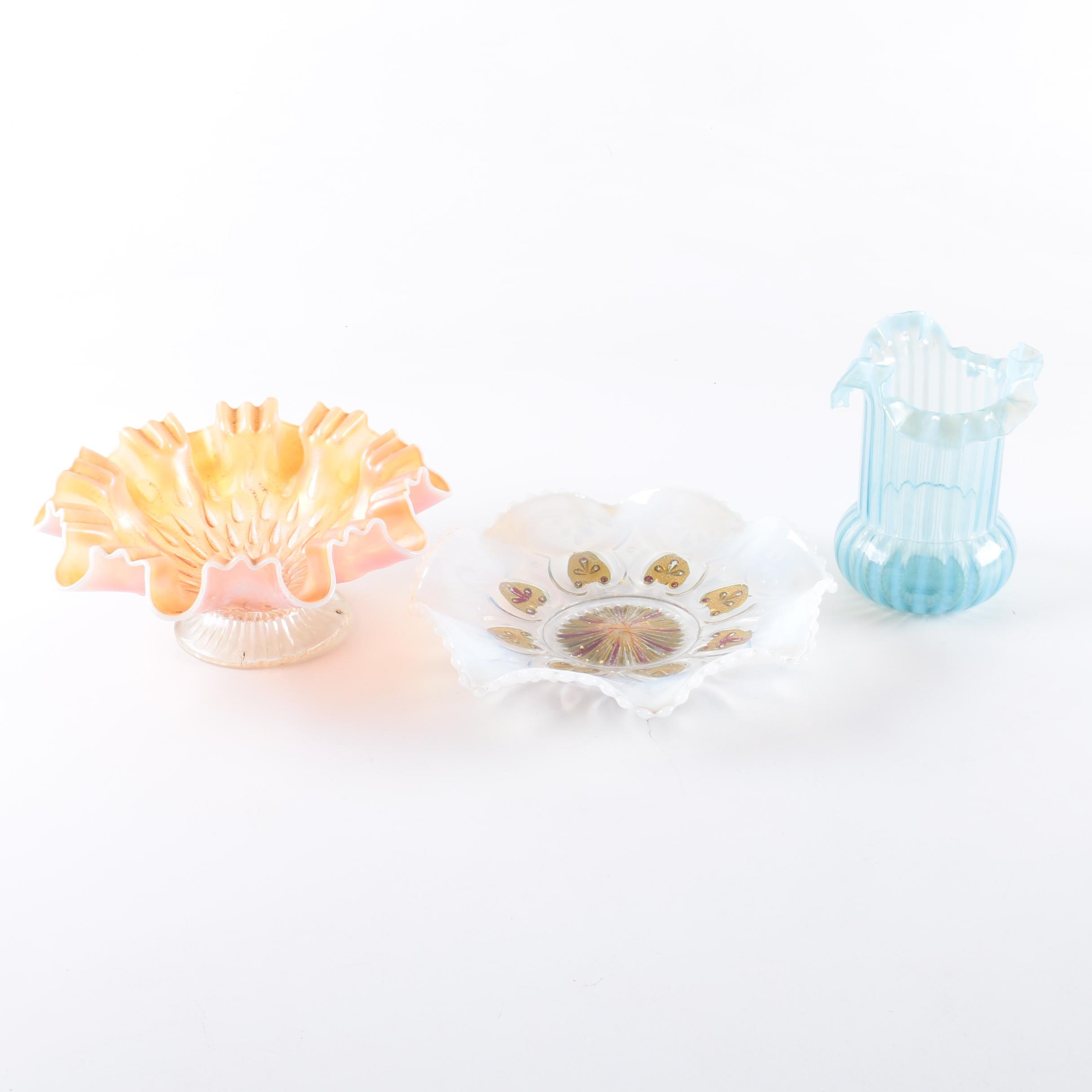 Depression Glass Opalescent Bowls and Blue Striped Vase