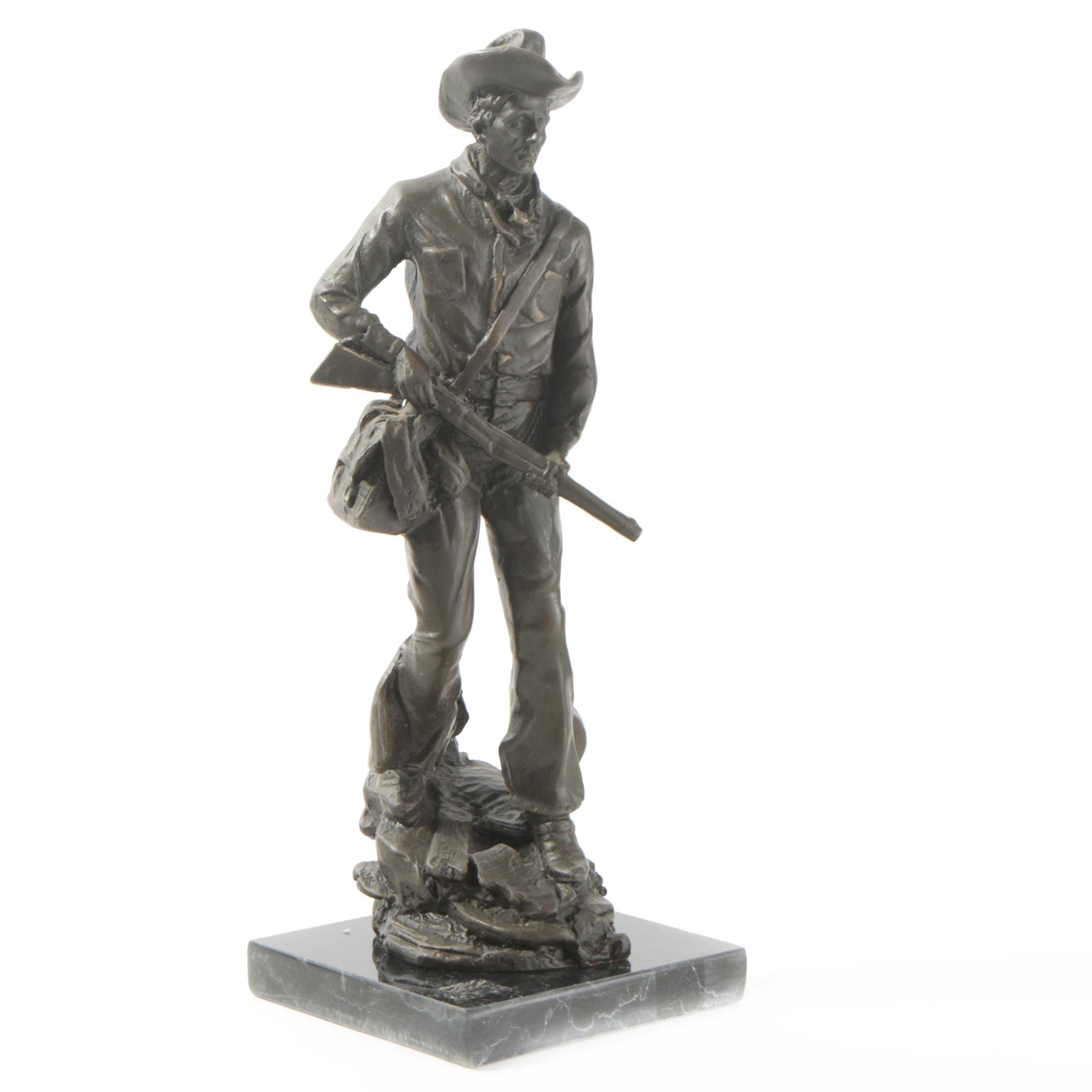 Bronze-Tone Cowboy Sculpture