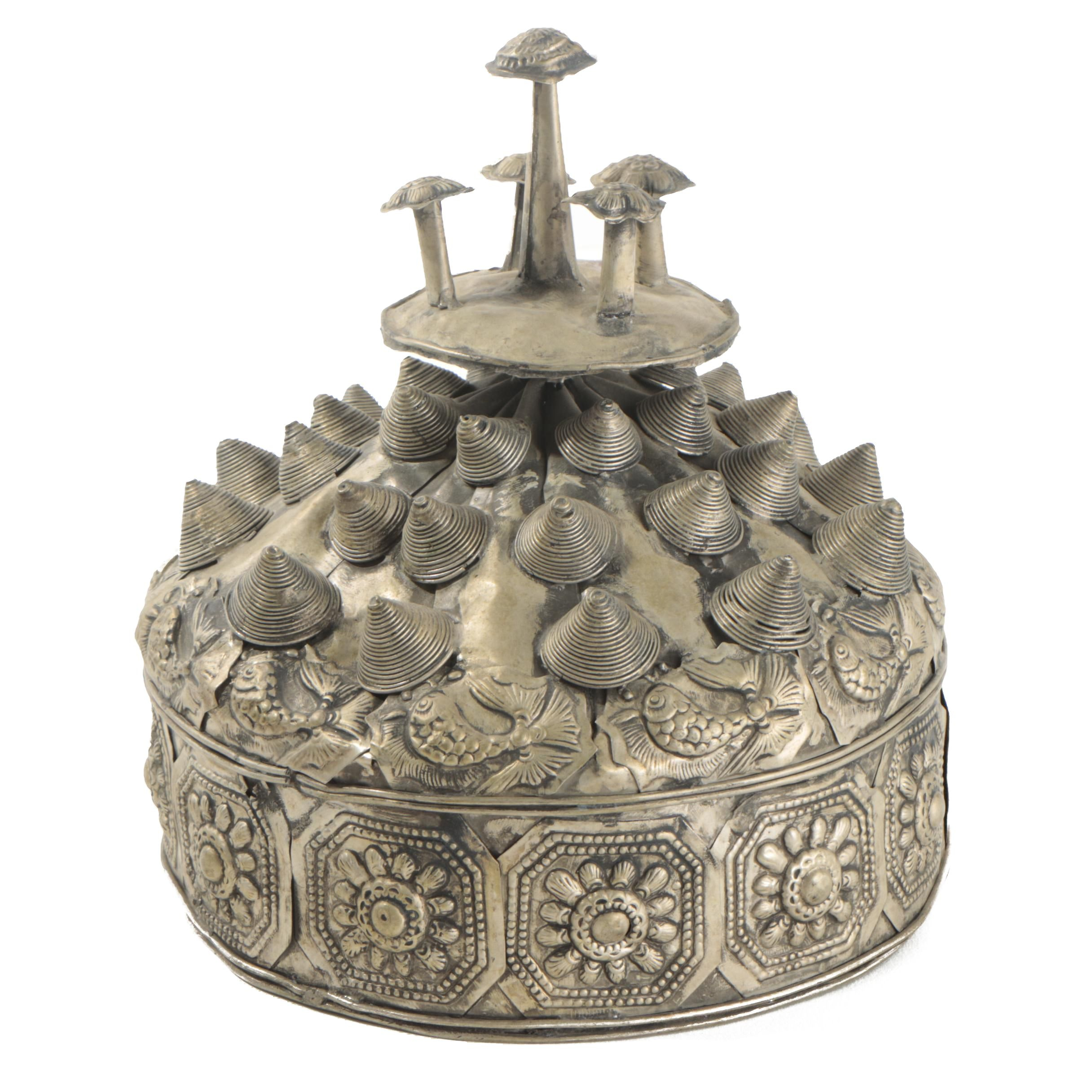 Chinese Miao-Style Silver Tone Metal Hat With Medallion Embellishments