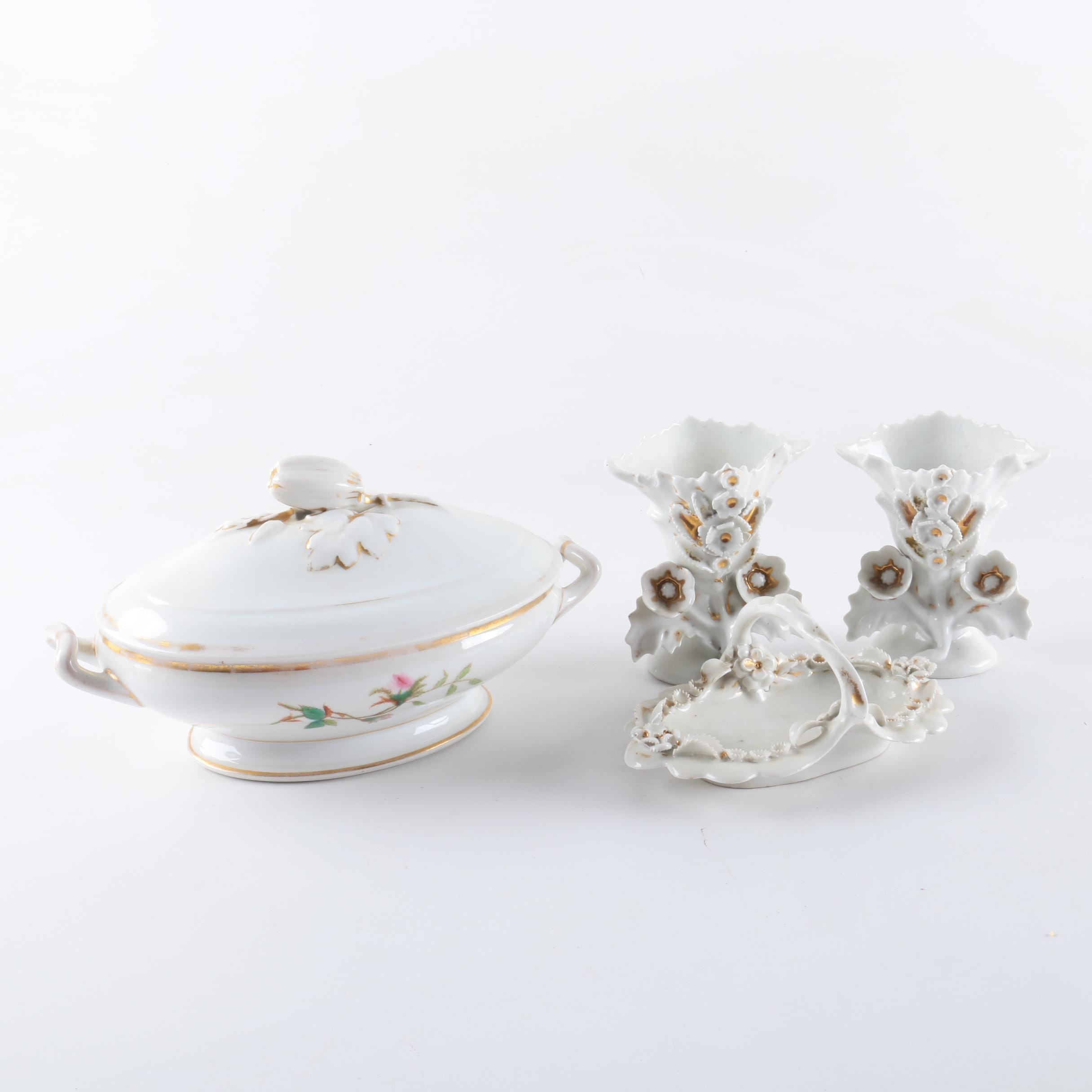 Porcelain Dishes and Vases with Goldtone Trim