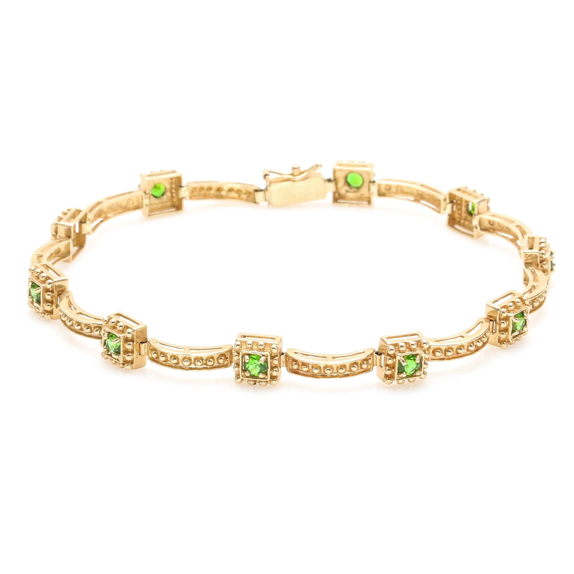 14K Yellow Gold Chrome Diopside Bracelet