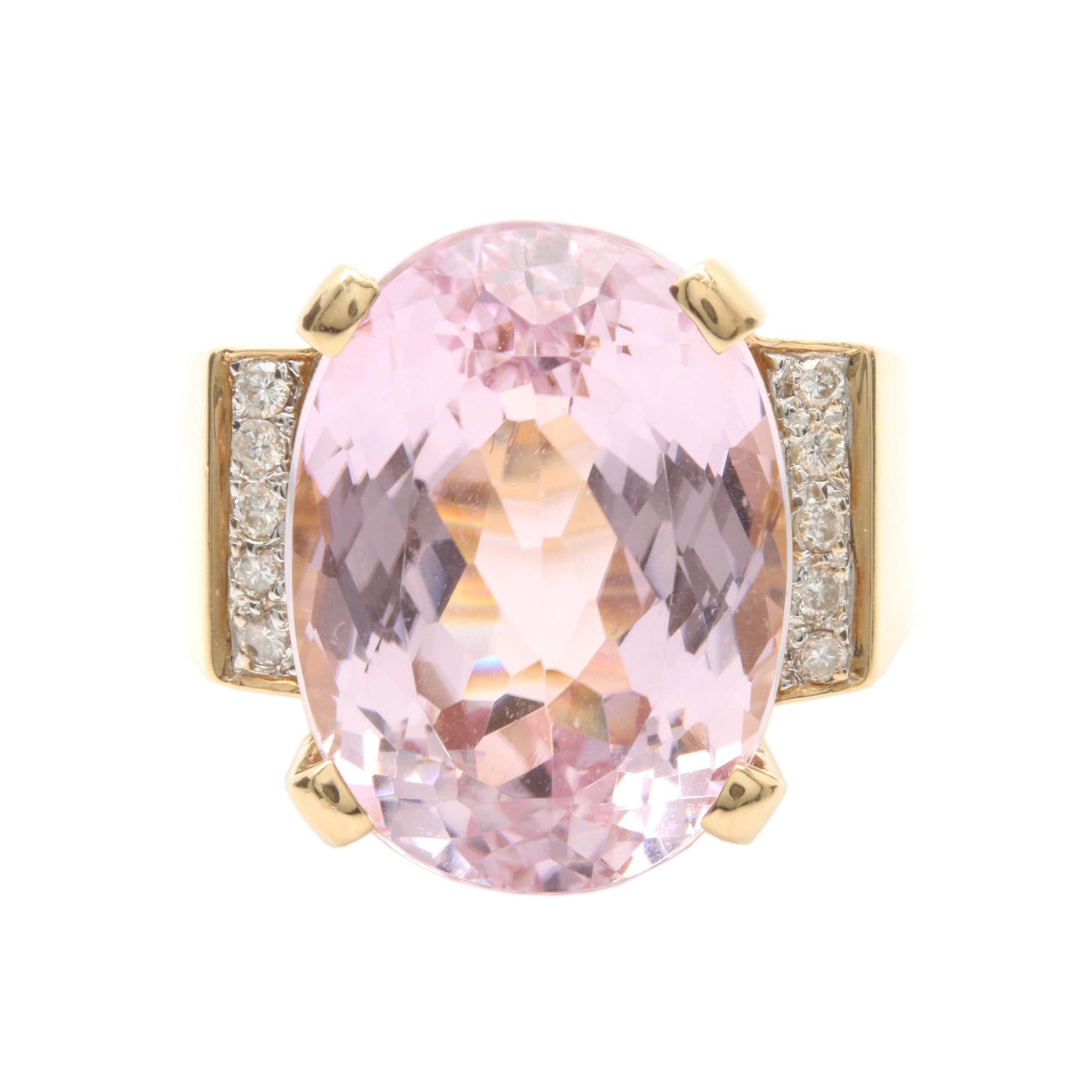 14K Yellow Gold 19.12 CT Pink Kunzite and Diamond Ring
