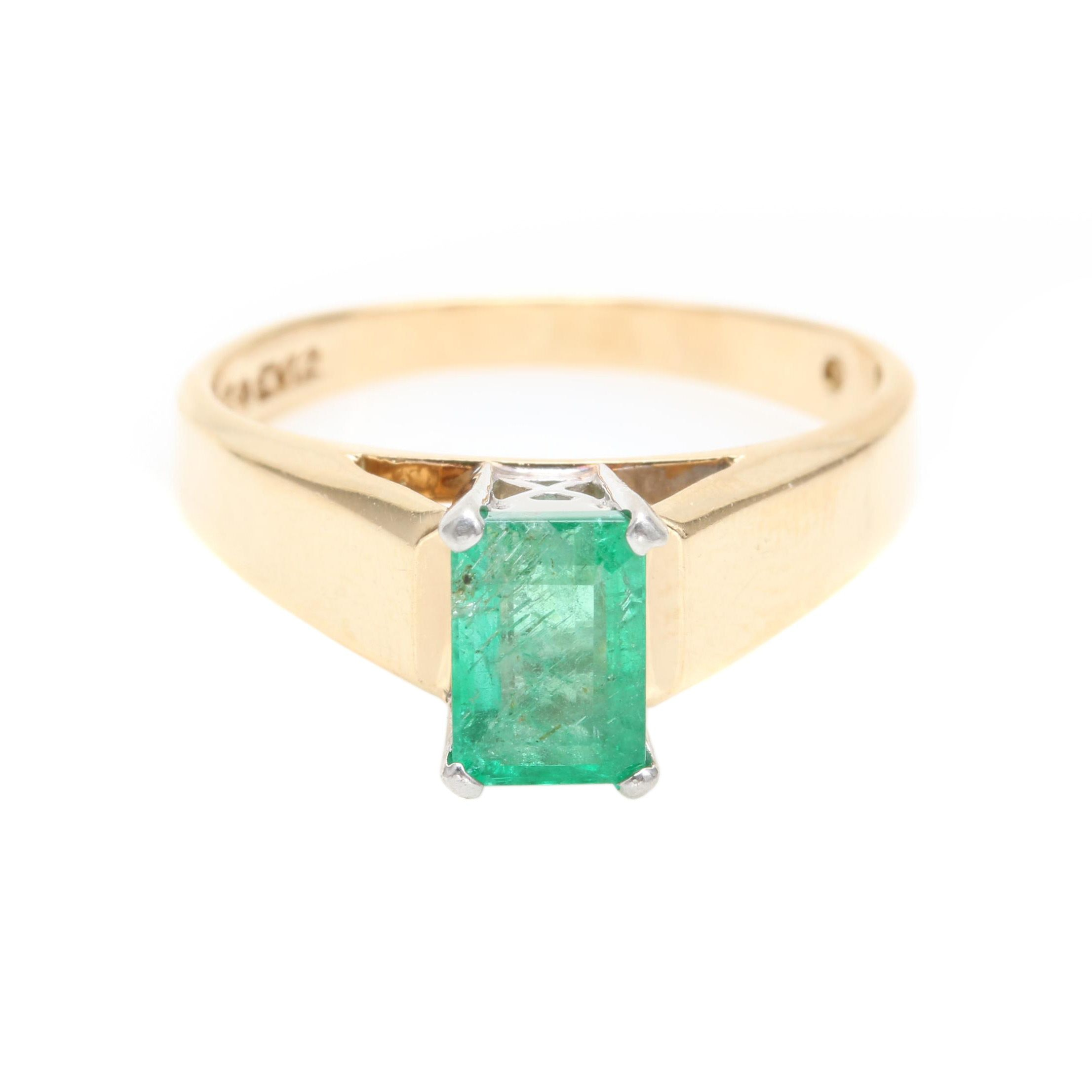 14K Yellow Gold Emerald Ring with Platinum Accents