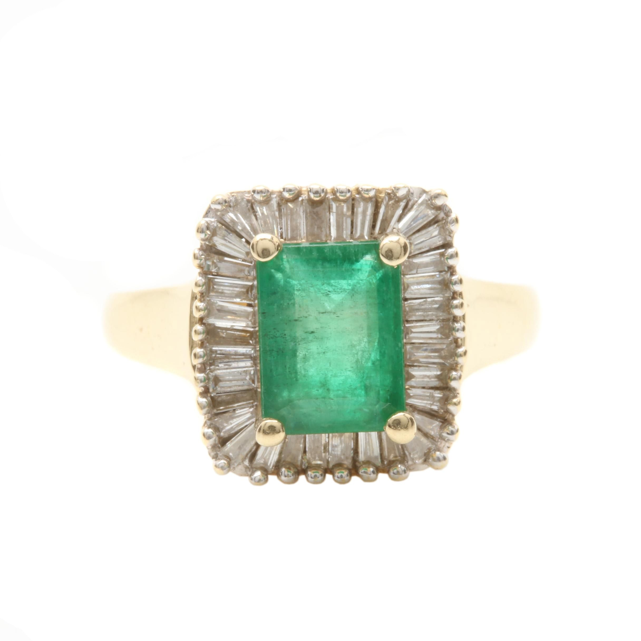 14K Yellow Gold 1.36 CT Emerald and Diamond Ring