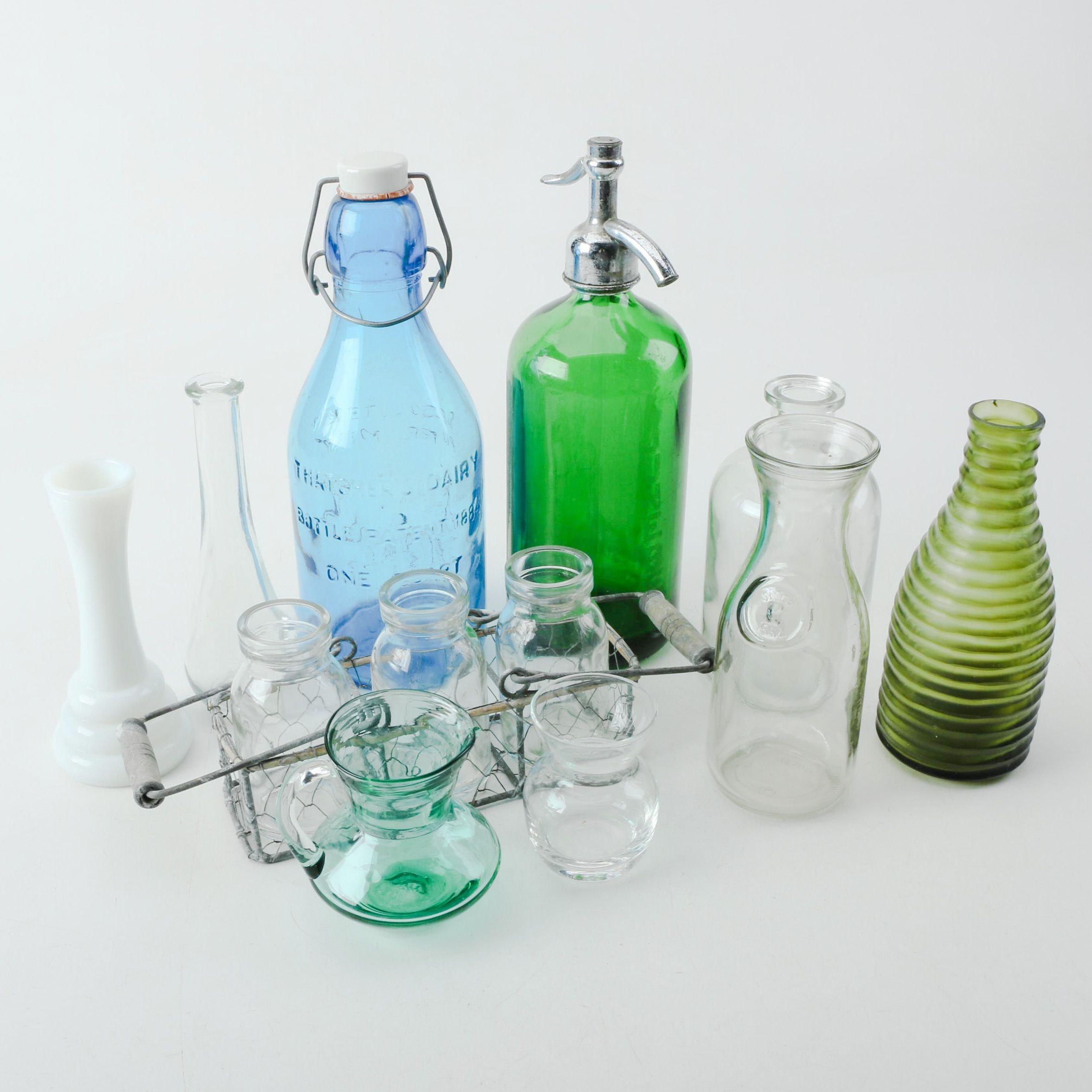 Glass Vases, Bottles, Soap Disenser, and Jars