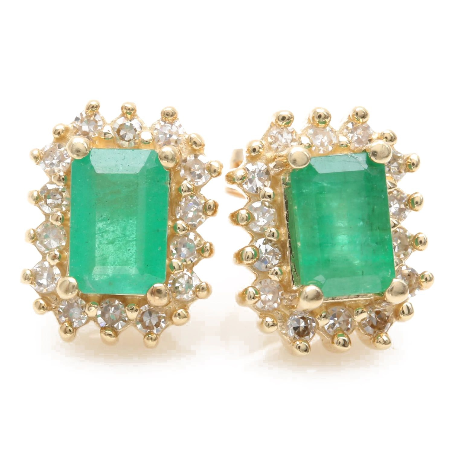 Alwand Vahan 14K Yellow Gold Emerald and Diamond Earrings