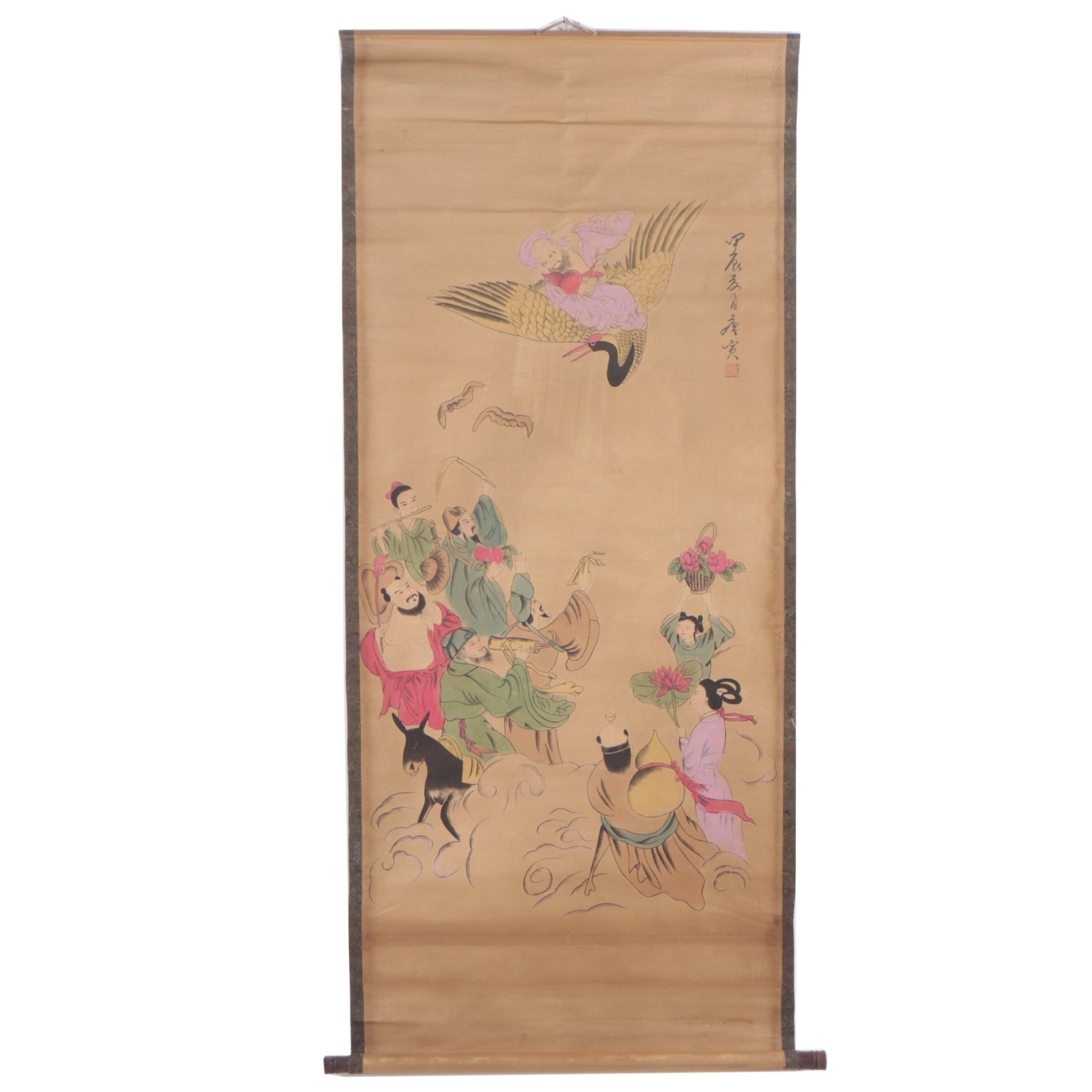 Chinese Watercolor Embellished Hanging Scroll of Figural Scene