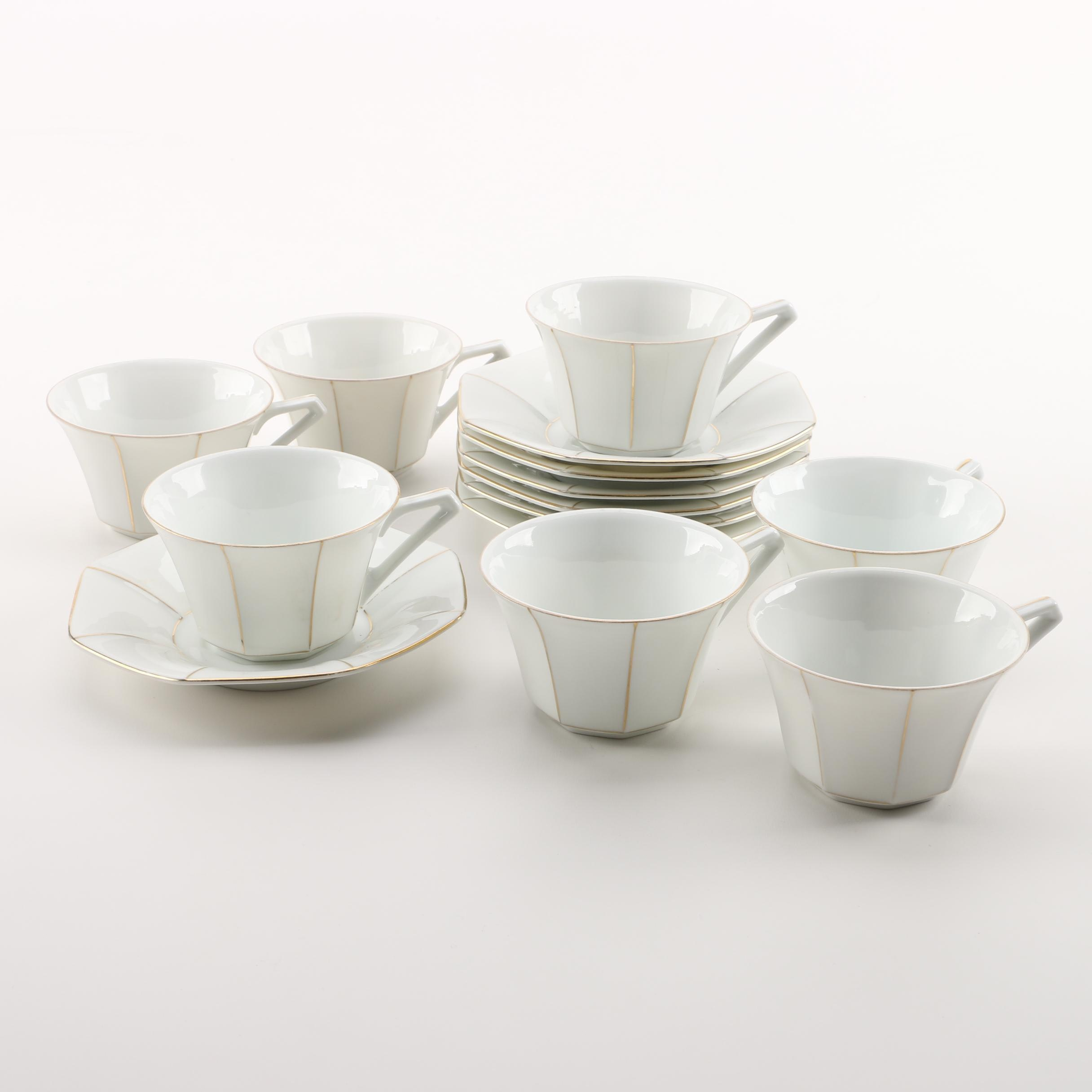 Vintage Victoria Porcelain Teacups and Saucers