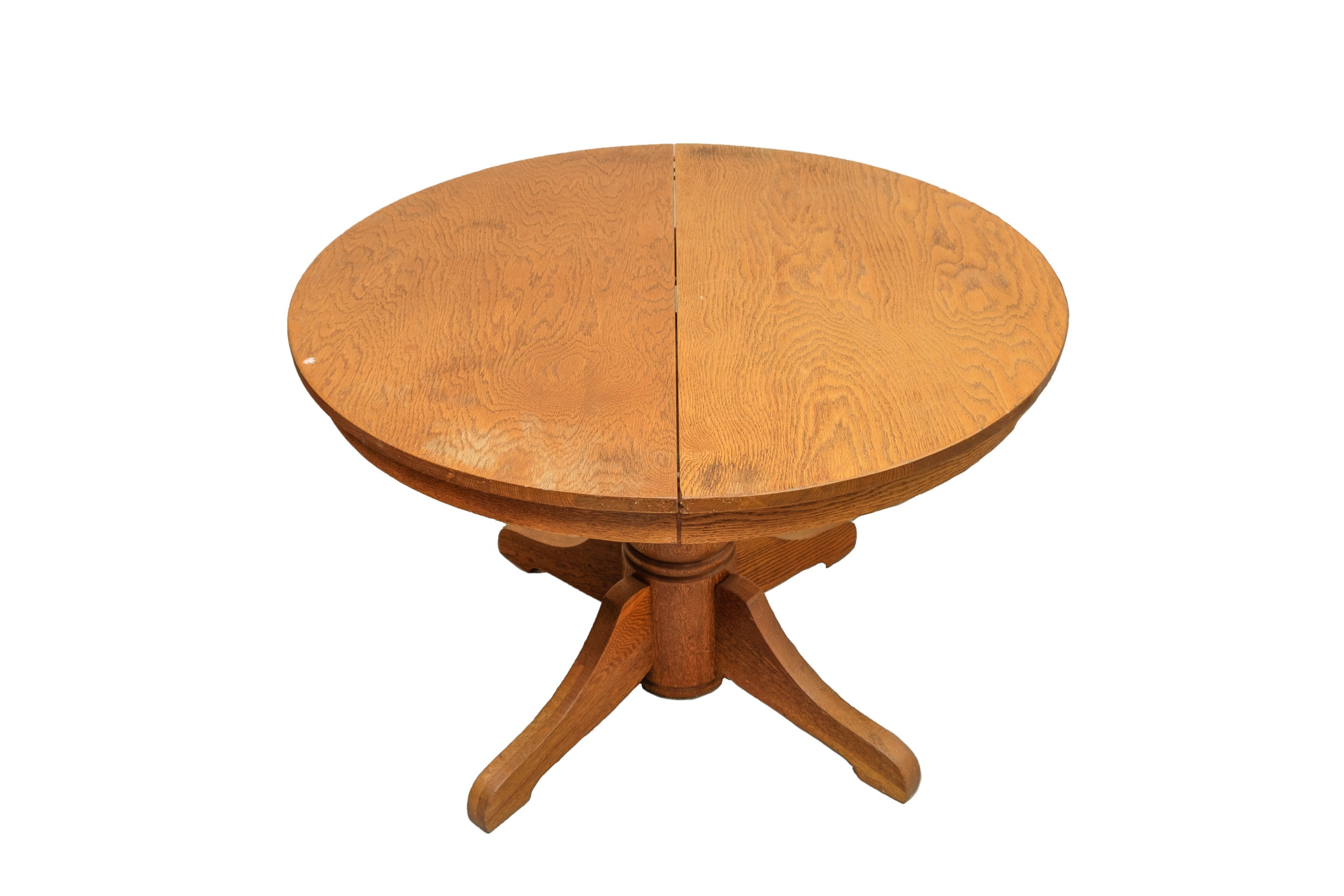 Vintage Round Oak Pedestal Table