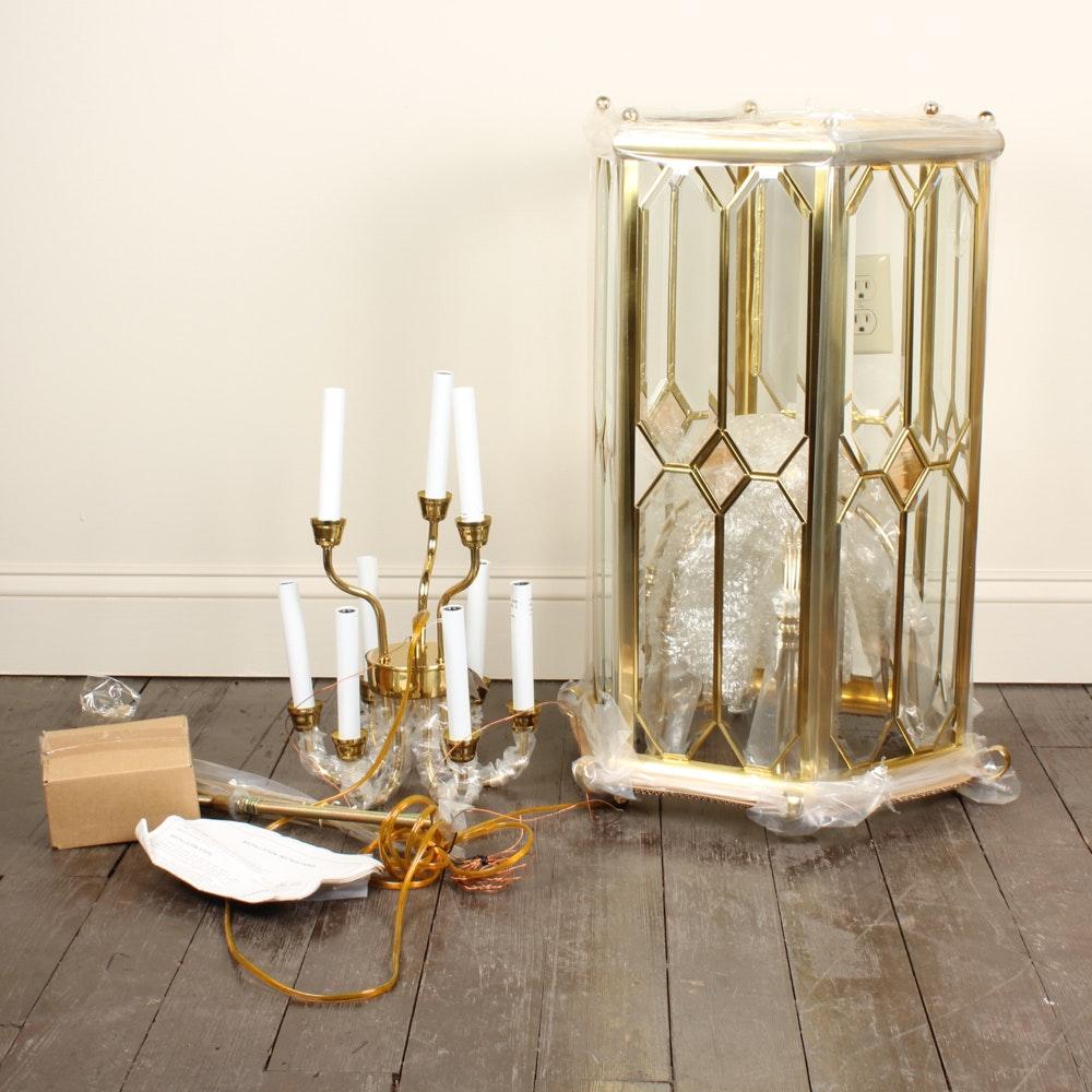 Beveled Glass and Brass Candelabra Lantern Style Chandelier