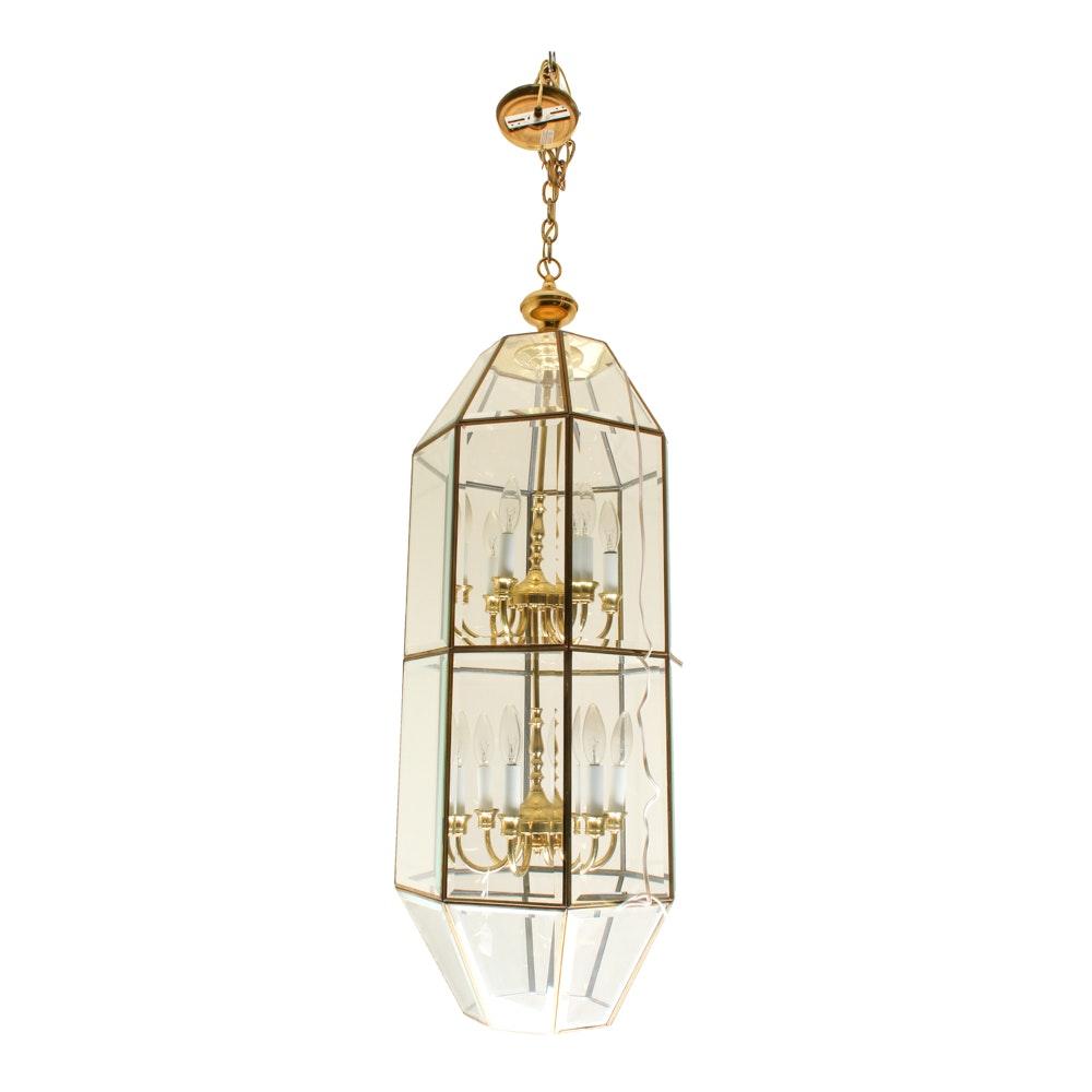 Beveled Glass and Brass Lantern Style Candelabra Chandelier