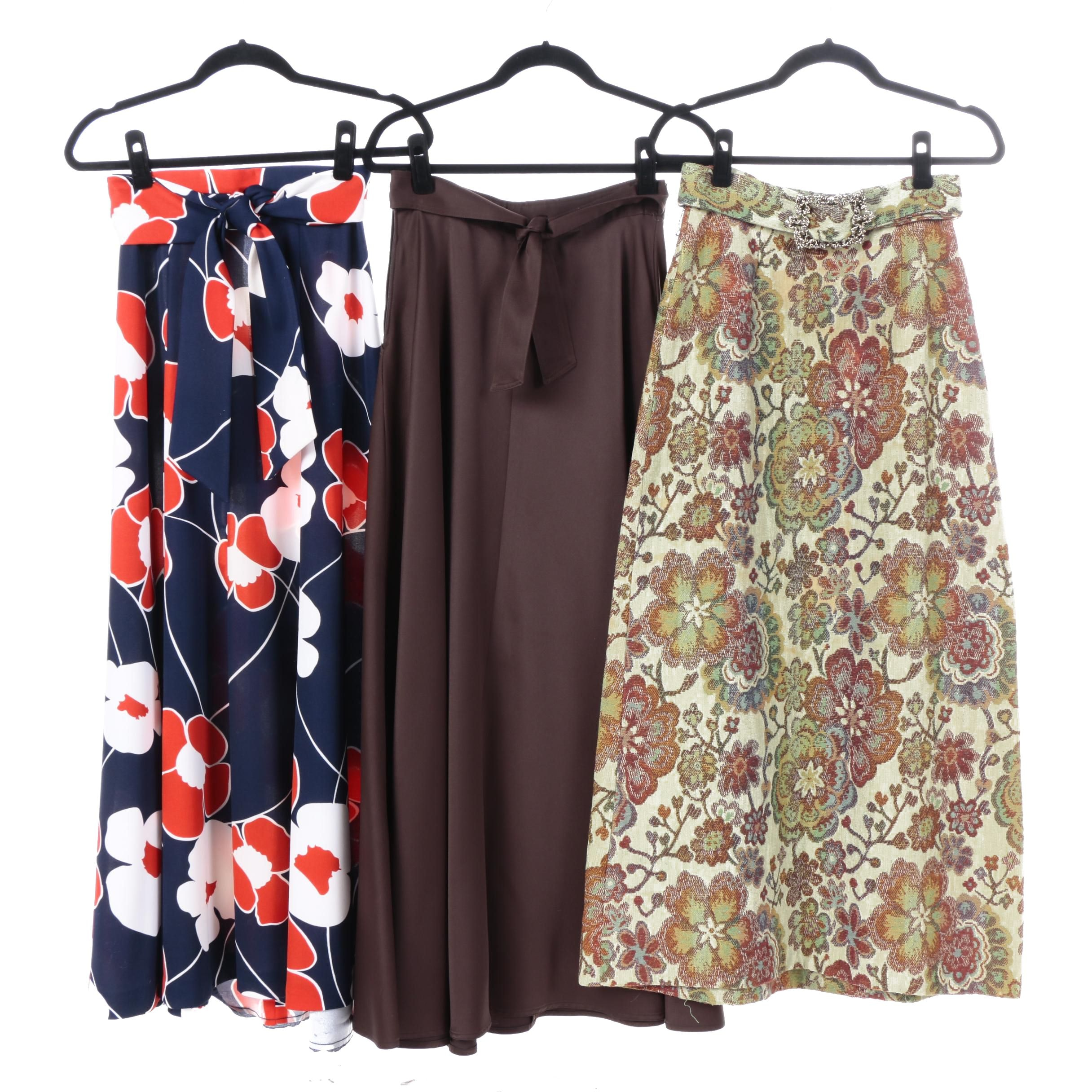 Women's Vintage A-Line Maxi Skirts with Belts