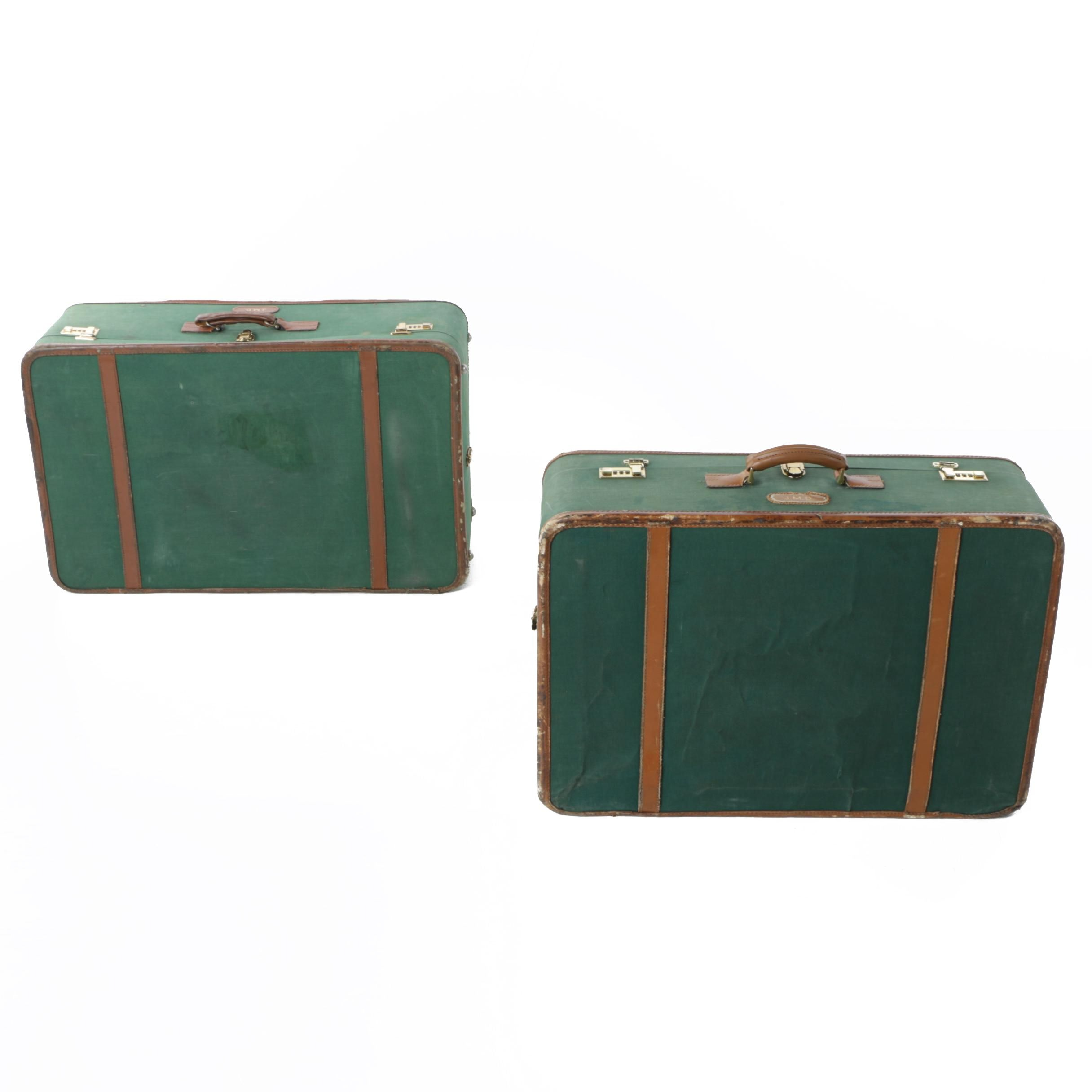 Vintage T. Anthony Ltd. Large Green Luggage Set