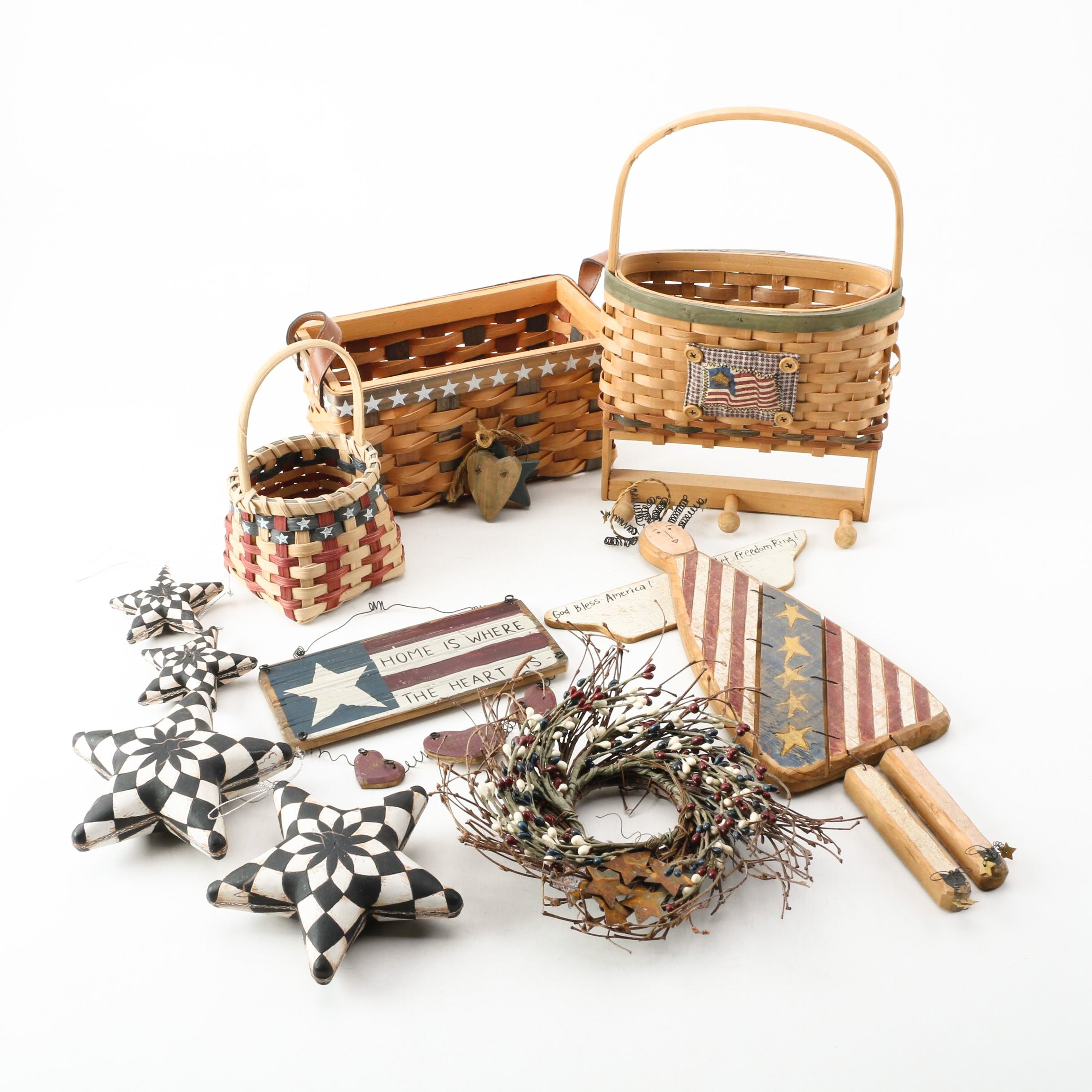 Assorted Baskets and Wooden U.S.A.Themed Decor