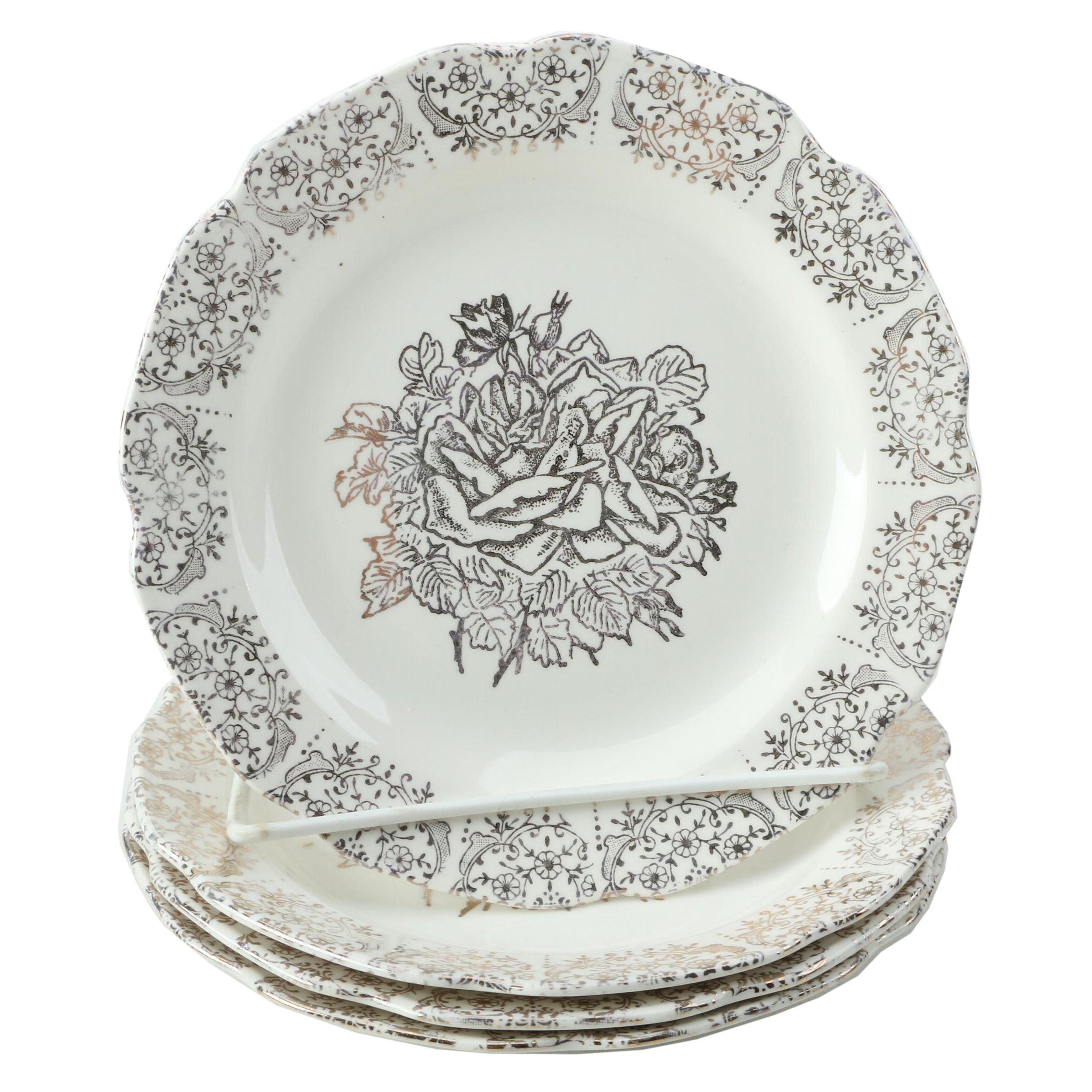 Gilt Rosette Ceramic Dinner Plates