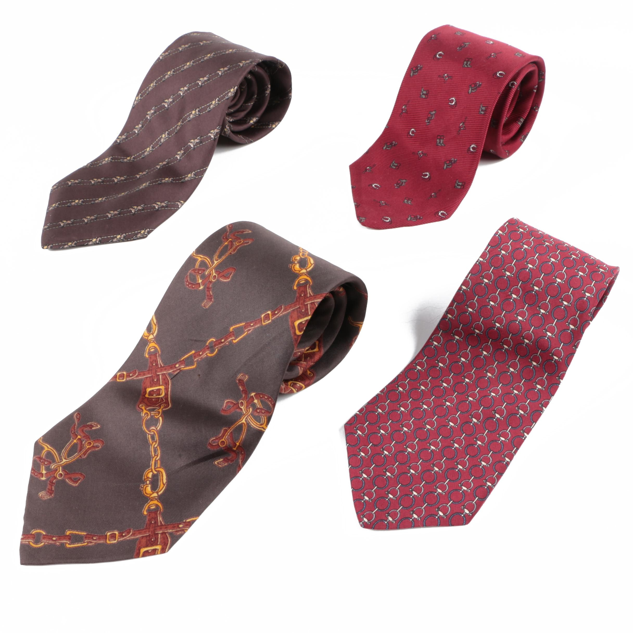 Equestrian Print Silk Neckties Including Polo by Ralph Lauren and Saville-Edells