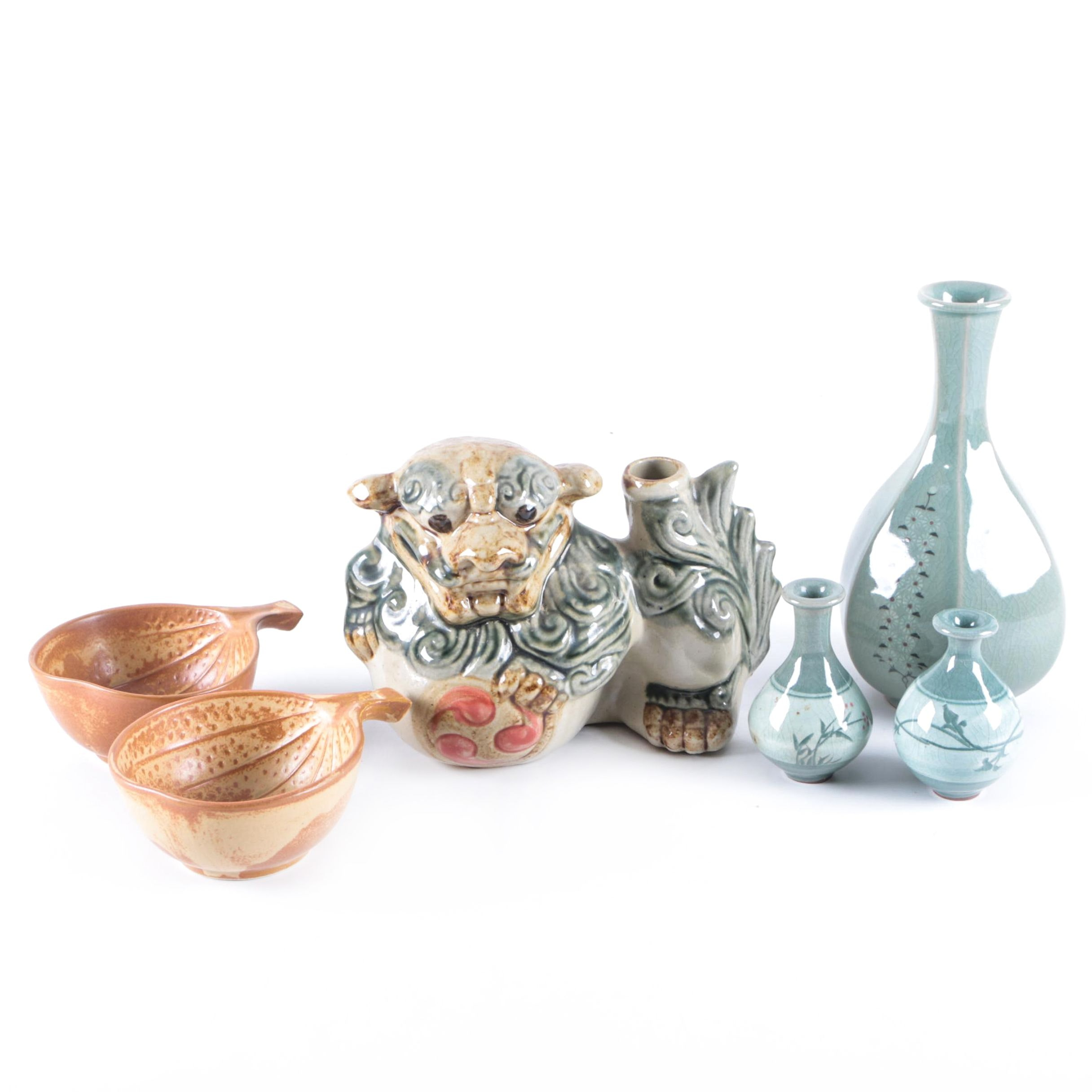 East Asian Bowls, Vases, and a Dragon Bottle