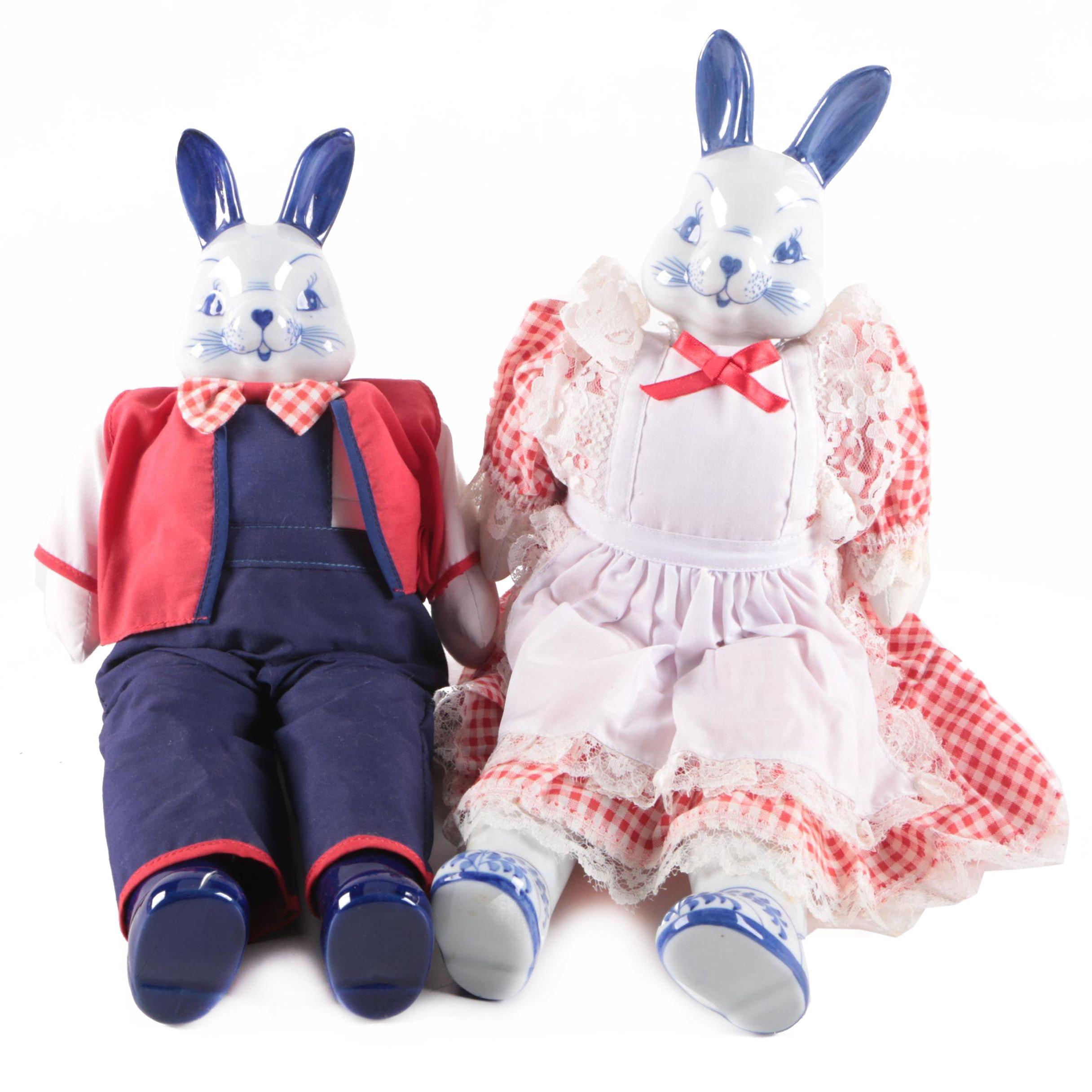 Vintage Hand-Painted Porcelain Bunny Dolls