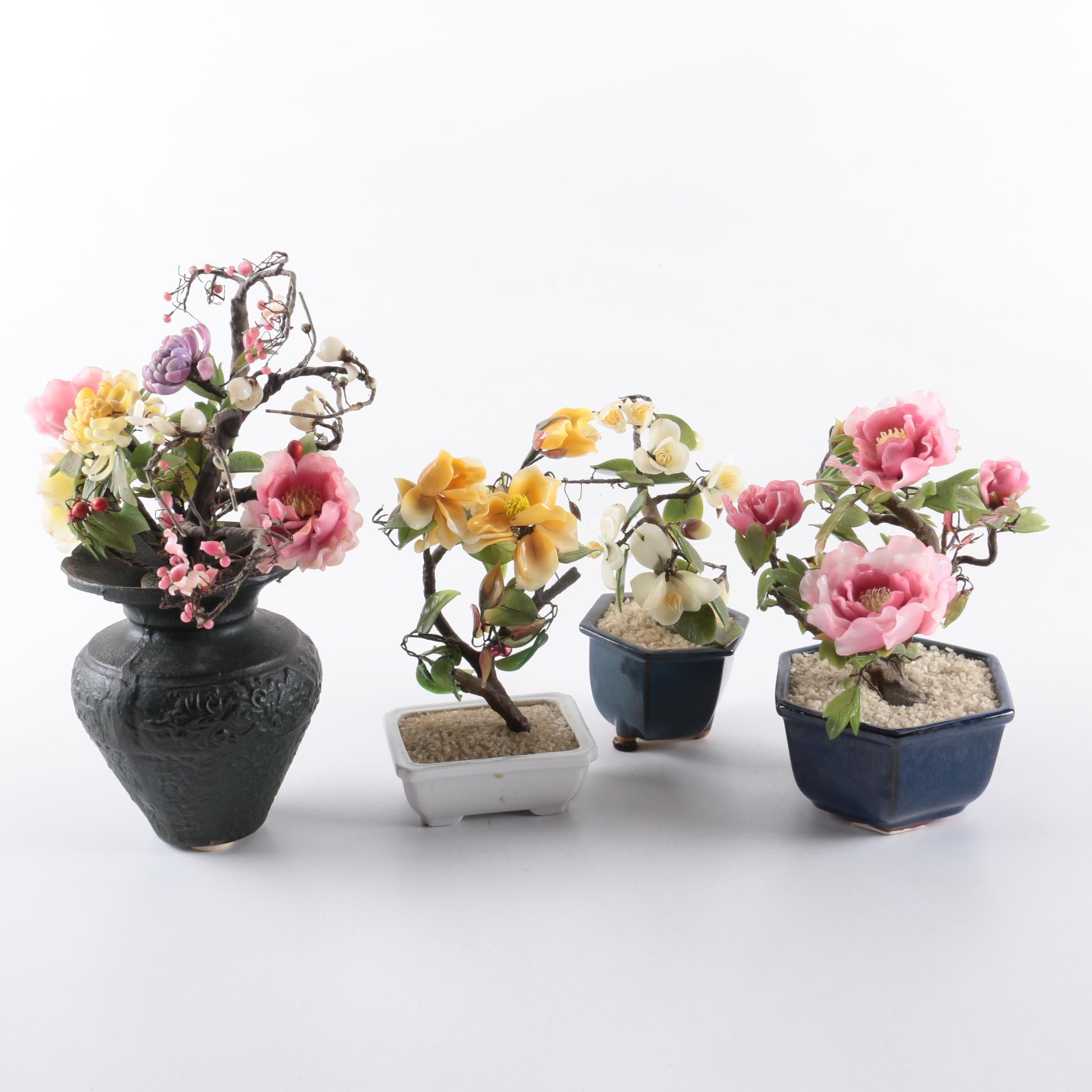 Bonsai Style Glass Flower Figurines with Planters