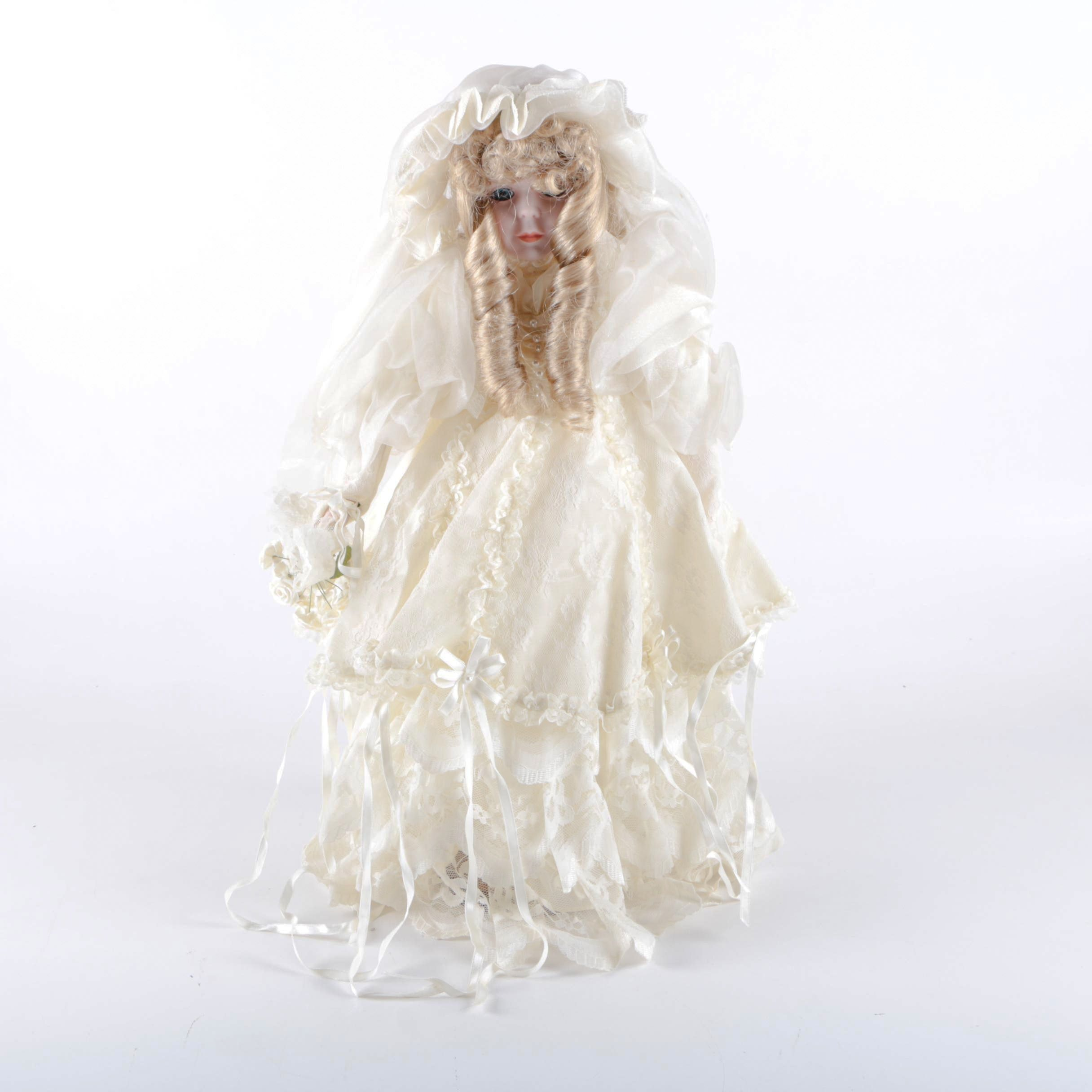 Vintage Porcelain Victorian Bride Doll with Stand